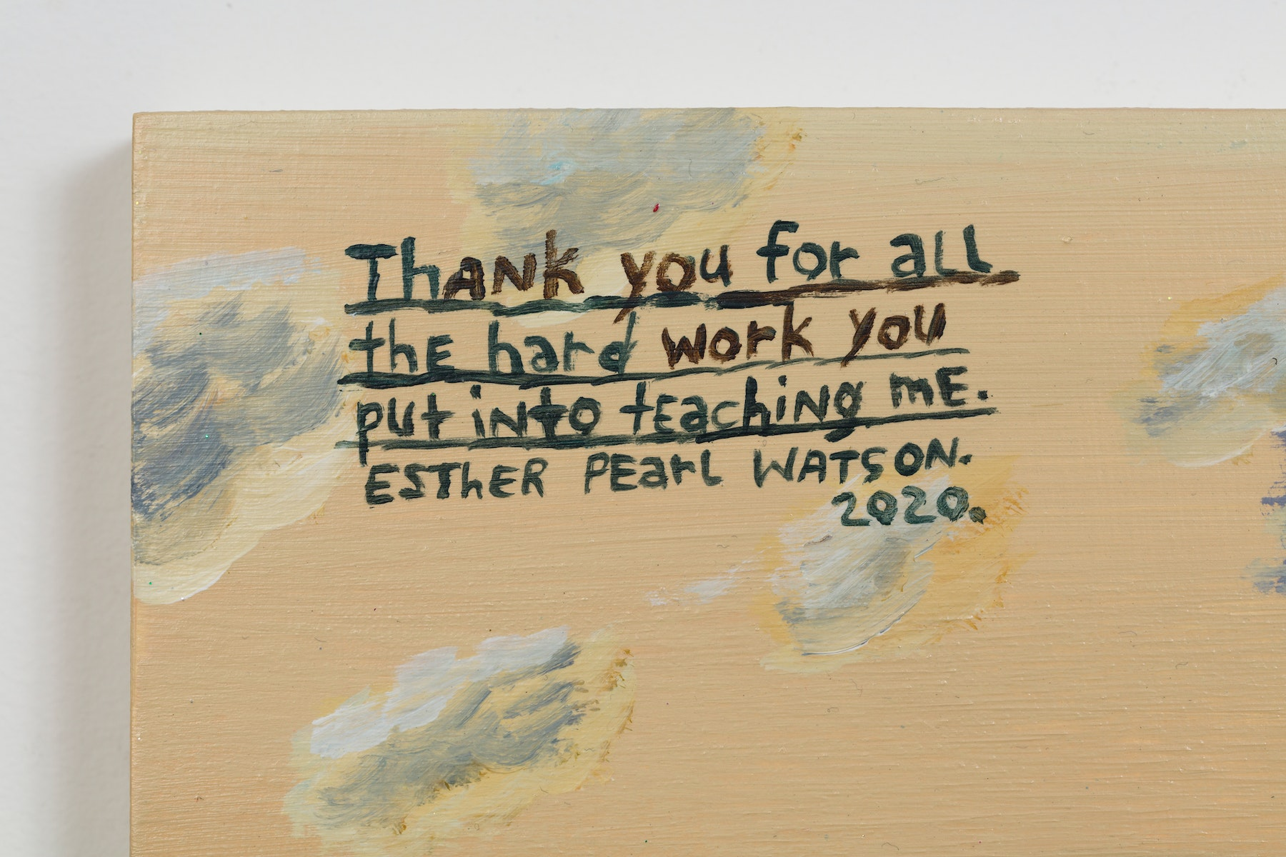 """Esther Pearl Watson """"Thank You For All the Hard Work You Put Into Teaching Me,"""" 2020 Acrylic, foil, foil paper, found mirror, graphite on panel 12 x 16"""" [HxW] (30.48 x 40.64 cm) Inventory #EPW217 Courtesy of the artist and Vielmetter Los Angeles Photo credit: Jeff McLane"""