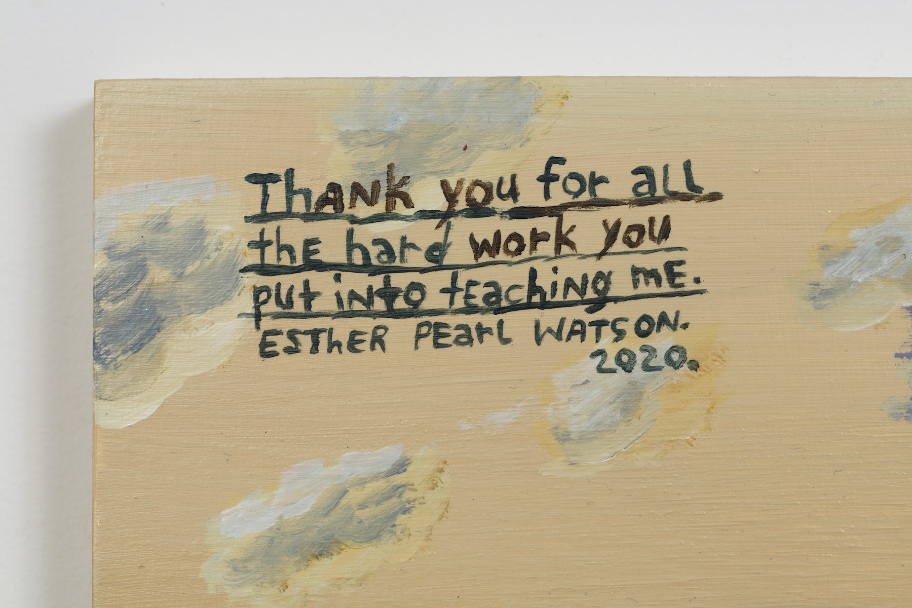 "Esther Pearl Watson ""Thank You For All the Hard Work You Put Into Teaching Me,"" 2020 Acrylic, foil, foil paper, found mirror, graphite on panel 12 x 16"" [HxW] (30.48 x 40.64 cm) Inventory #EPW217 Courtesy of the artist and Vielmetter Los Angeles Photo credit: Jeff McLane"