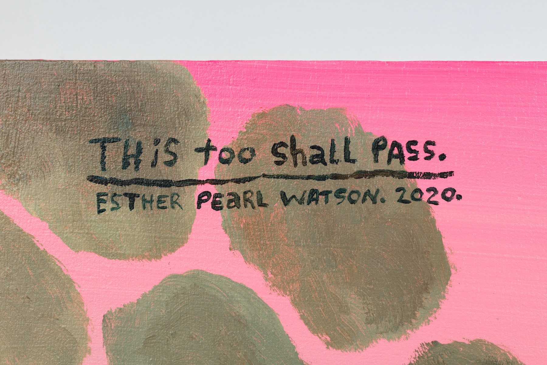 """Esther Pearl Watson """"This Too Shall Pass,"""" 2020 Acrylic, foil, foil paper, found mirror, graphite on panel 24 x 24"""" [HxW] (60.96 x 60.96 cm) Inventory #EPW220 Courtesy of the artist and Vielmetter Los Angeles Photo credit: Jeff McLane"""