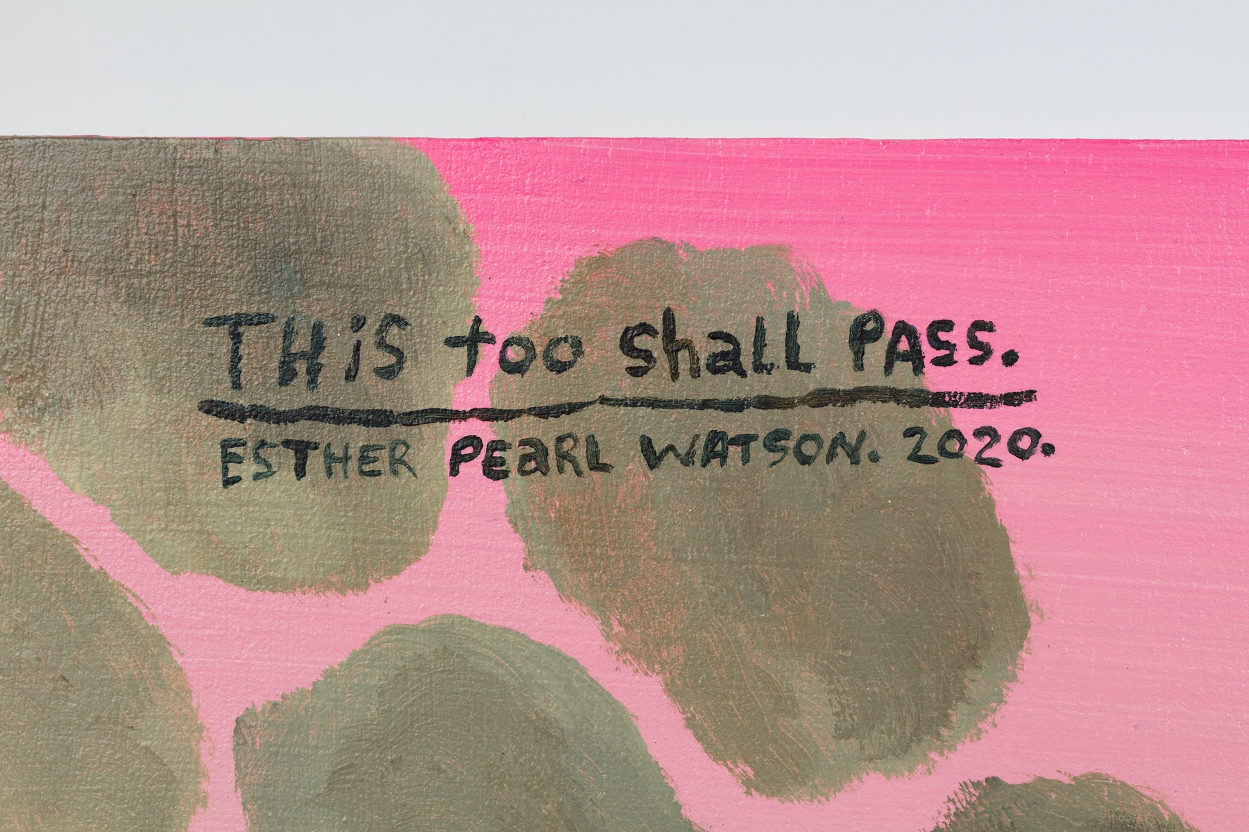 "Esther Pearl Watson ""This Too Shall Pass,"" 2020 Acrylic, foil, foil paper, found mirror, graphite on panel 24 x 24"" [HxW] (60.96 x 60.96 cm) Inventory #EPW220 Courtesy of the artist and Vielmetter Los Angeles Photo credit: Jeff McLane"