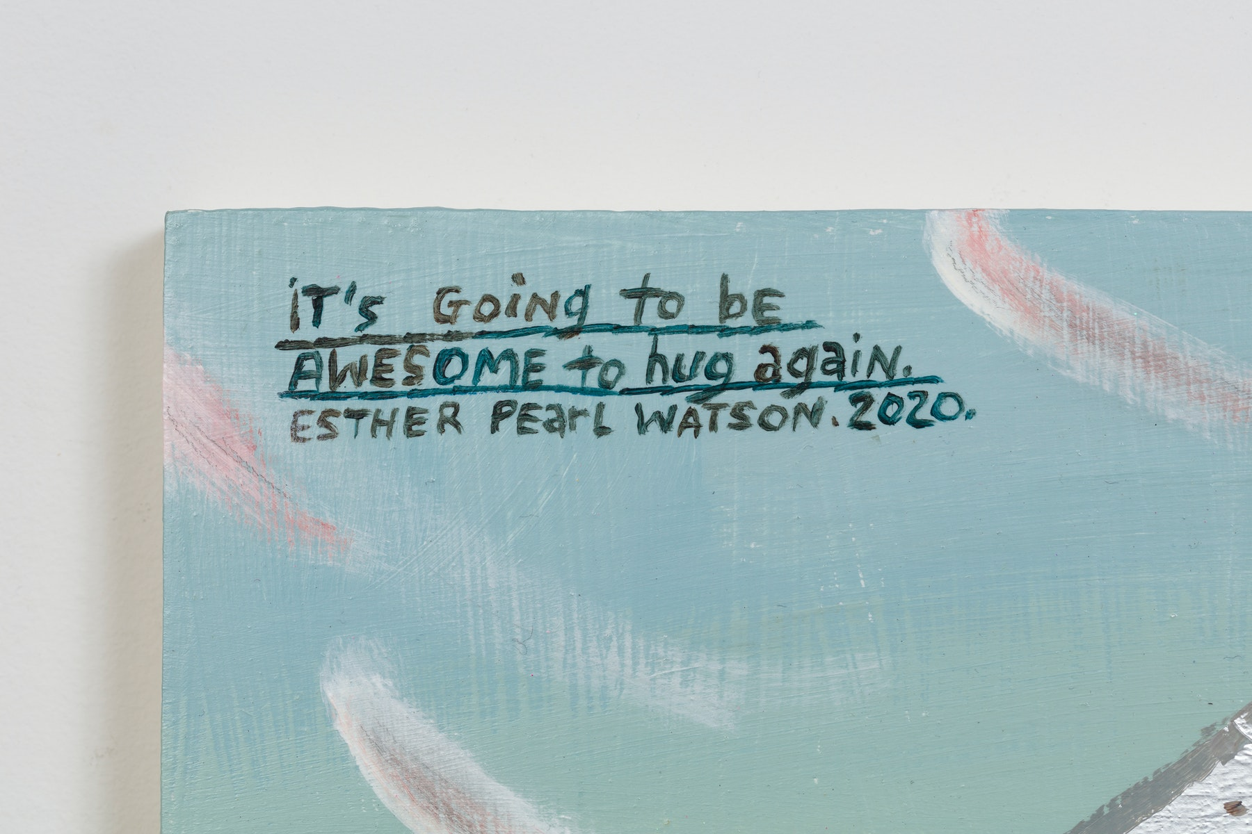 """Esther Pearl Watson """"It's going to be Awesome to Hug Again,"""" 2020 Acrylic, foil, foil paper, found mirror, graphite on panel 12 x 16"""" [HxW] (30.48 x 40.64 cm) Inventory #EPW222 Courtesy of the artist and Vielmetter Los Angeles Photo credit: Jeff McLane"""