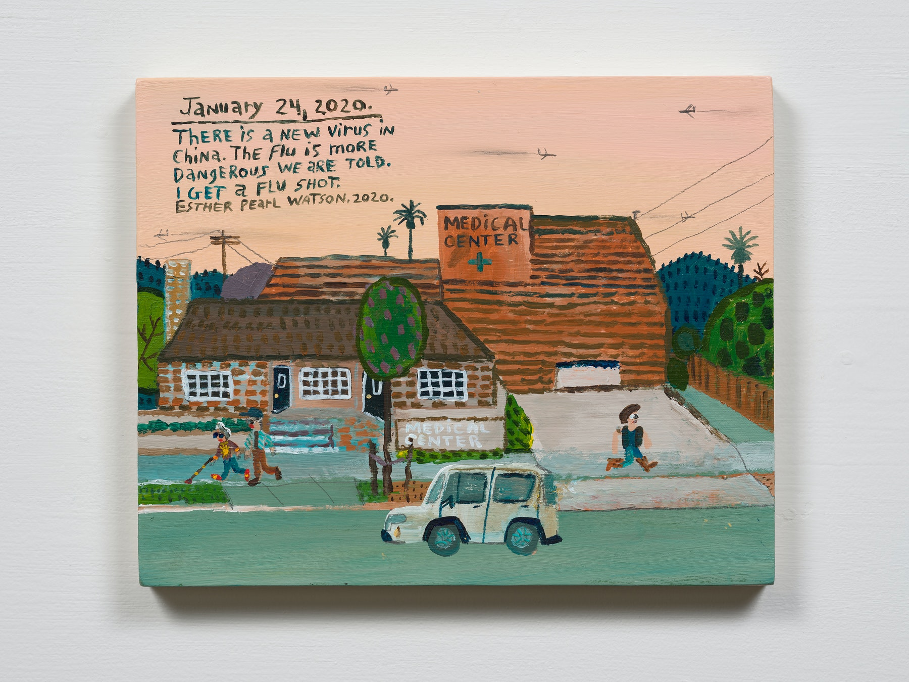 """Esther Pearl Watson """"January 24, There is a New Virus,"""" 2020 Acrylic with pencil on panel 8 x 10"""" [HxW] (20.32 x 25.4 cm) Inventory #EPW230 Courtesy of the artist and Vielmetter Los Angeles Photo credit: Jeff Mclane"""