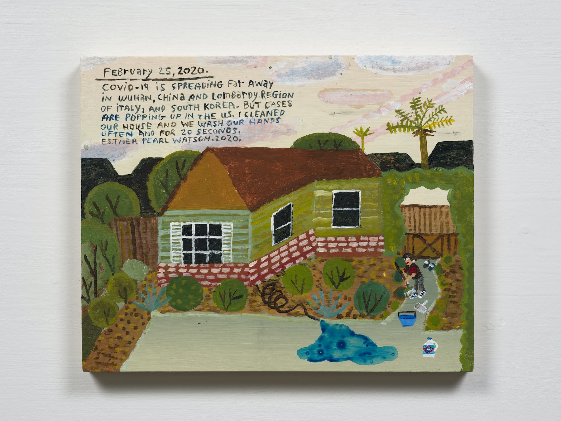 """Esther Pearl Watson """"February 25, Spreading Far Away,"""" 2020 Acrylic with pencil on panel 8 x 10"""" [HxW] (20.32 x 25.4 cm) Inventory #EPW233 Courtesy of the artist and Vielmetter Los Angeles Photo credit: Jeff Mclane"""