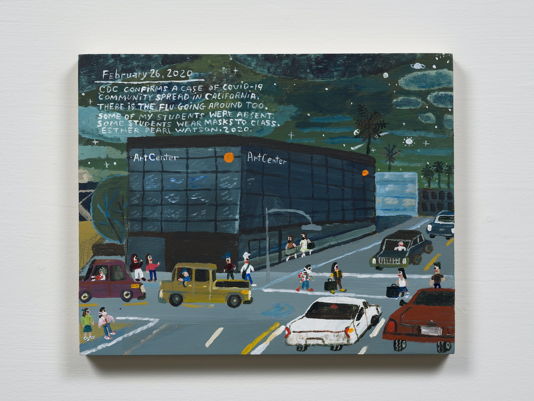 """Esther Pearl Watson """"February 26, CDC Confirms a Case,"""" 2020 Acrylic with pencil on panel 8 x 10"""" [HxW] (20.32 x 25.4 cm) Inventory #EPW234 Courtesy of the artist and Vielmetter Los Angeles Photo credit: Jeff Mclane"""