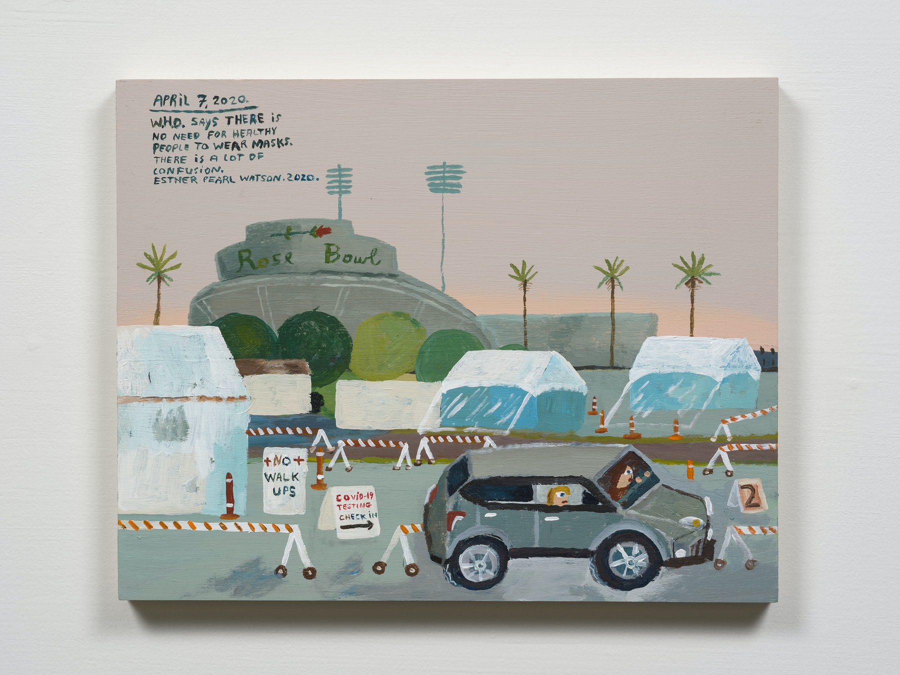 """Esther Pearl Watson """"April 7, Rose Bowl Covid-Testing,"""" 2020 Acrylic with pencil on panel 11 x 14"""" [HxW] (27.94 x 35.56 cm) Inventory #EPW256 Courtesy of the artist and Vielmetter Los Angeles Photo credit: Jeff Mclane"""