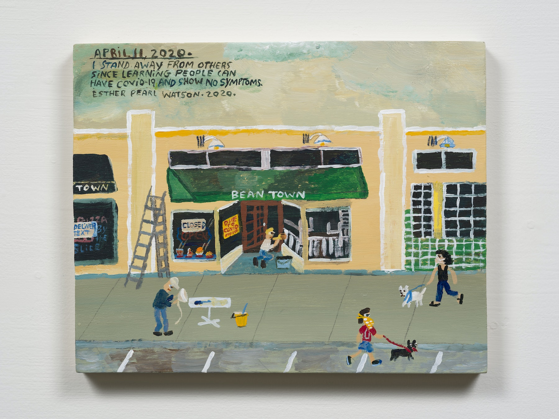 """Esther Pearl Watson """"April 11, I Stand Away From Others,"""" 2020 Acrylic with pencil on panel 8 x 10"""" [HxW] (20.32 x 25.4 cm) Inventory #EPW258 Courtesy of the artist and Vielmetter Los Angeles Photo credit: Jeff Mclane"""
