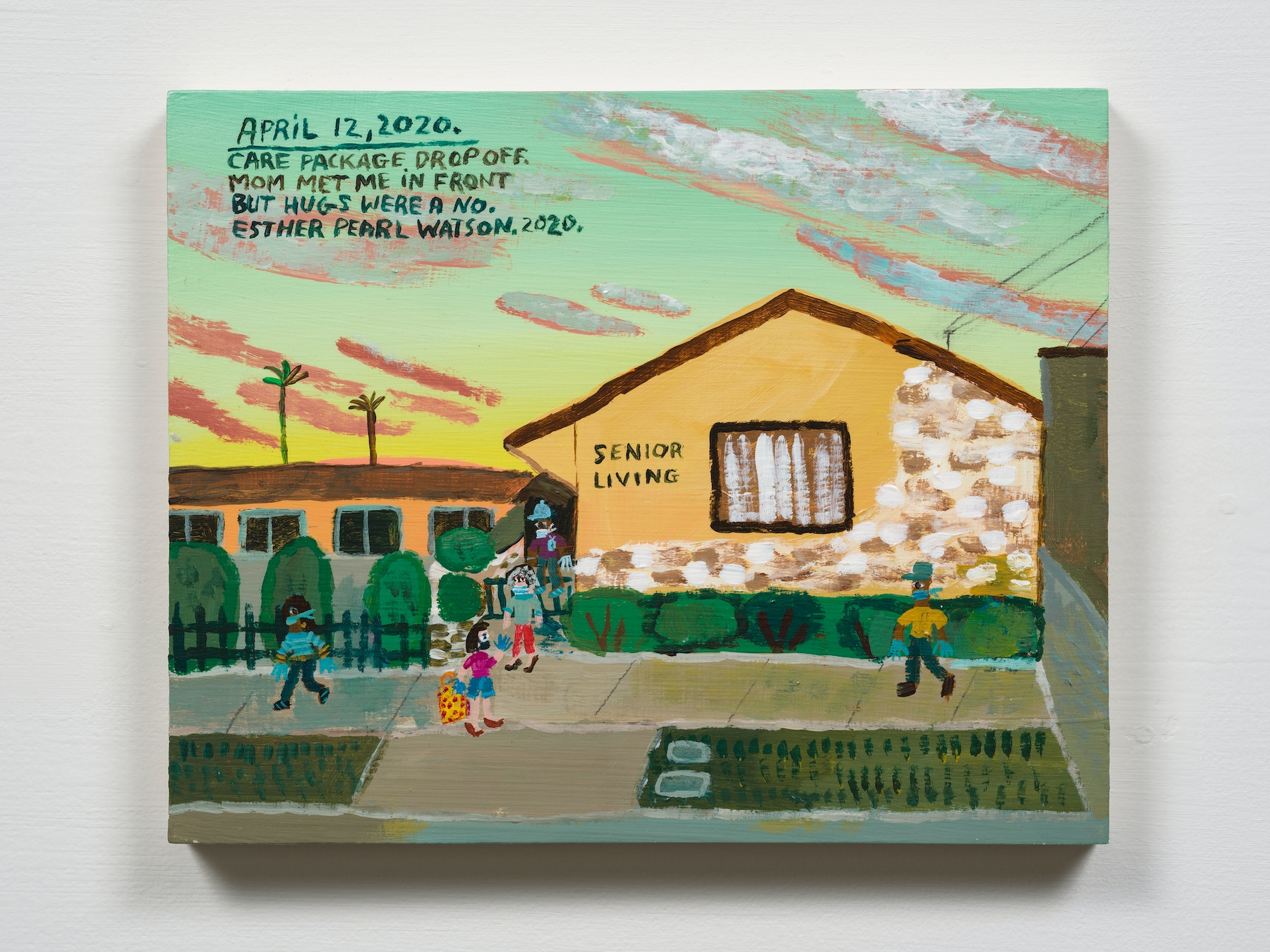 """Esther Pearl Watson """"April 12, Hugs Were A No,"""" 2020 Acrylic with pencil on panel 8 x 10"""" [HxW] (20.32 x 25.4 cm) Inventory #EPW259 Courtesy of the artist and Vielmetter Los Angeles Photo credit: Jeff Mclane"""
