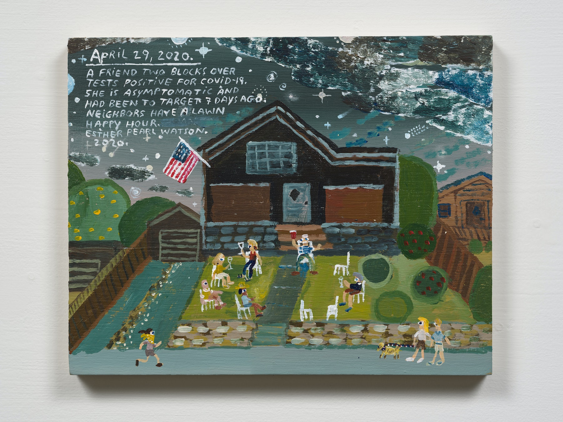 """Esther Pearl Watson """"April 29, A Friend Tests Positive,"""" 2020 Acrylic with pencil on panel 8 x 10"""" [HxW] (20.32 x 25.4 cm) Inventory #EPW267 Courtesy of the artist and Vielmetter Los Angeles Photo credit: Jeff Mclane"""