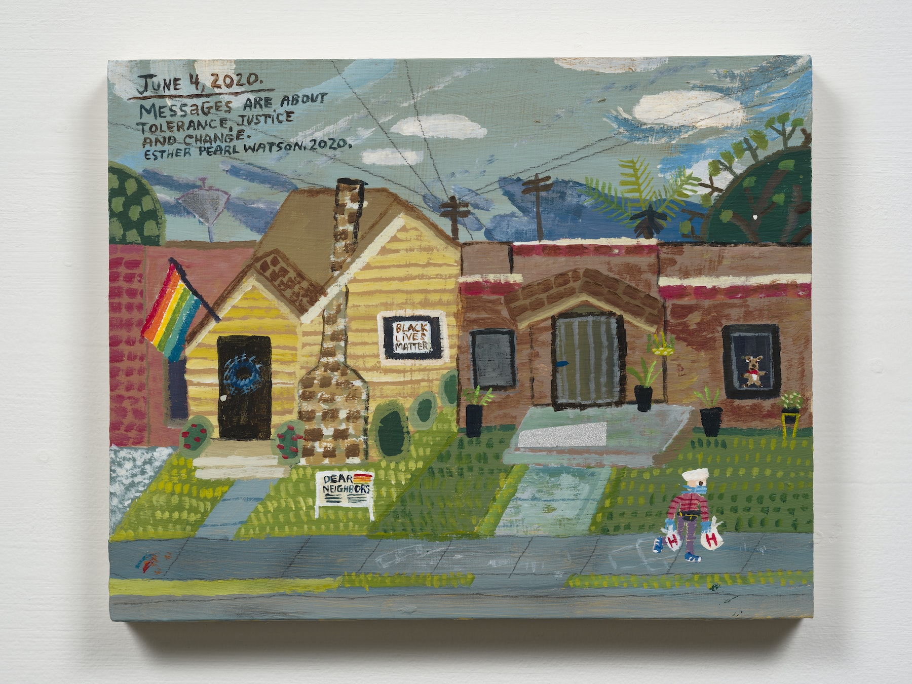"""Esther Pearl Watson """"June 4, Tolerance, Injustice and Change,"""" 2020 Acrylic with pencil on panel 8 x 10"""" [HxW] (20.32 x 25.4 cm) Inventory #EPW293 Courtesy of the artist and Vielmetter Los Angeles Photo credit: Jeff Mclane"""