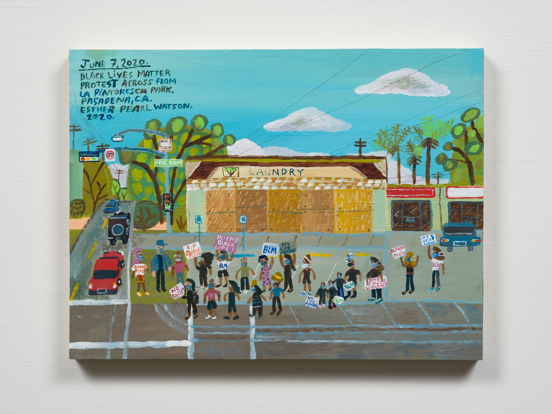"""Esther Pearl Watson """"June 7, La Pintoresca Park Protest,"""" 2020 Acrylic with pencil on panel 8 x 10"""" [HxW] (20.32 x 25.4 cm) Inventory #EPW295 Courtesy of the artist and Vielmetter Los Angeles Photo credit: Jeff Mclane"""