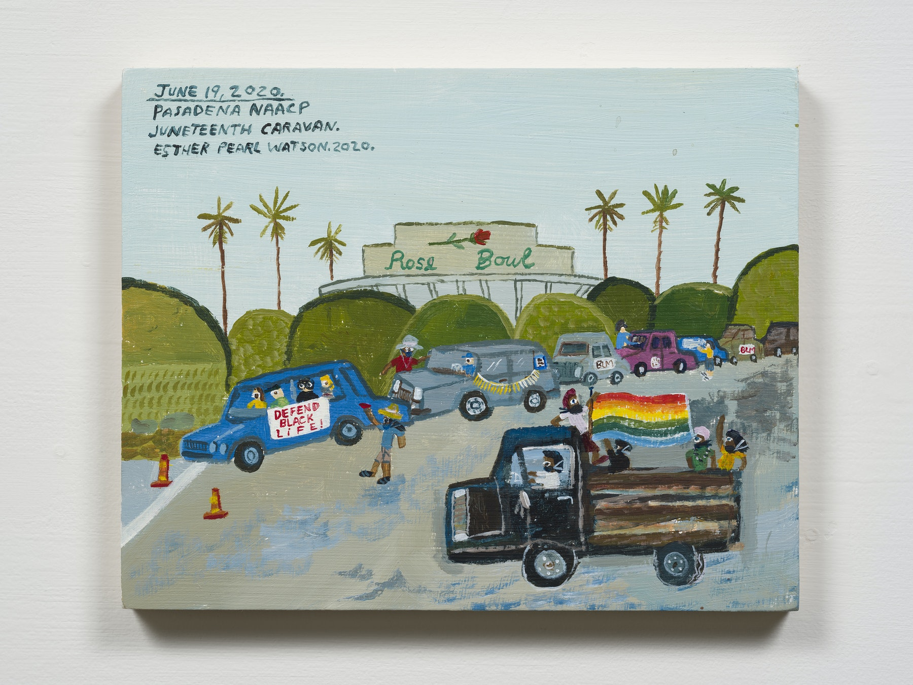 """Esther Pearl Watson """"June 19, Rose Bowl Juneteenth Caravan,"""" 2020 Acrylic with pencil on panel 8 x 10"""" [HxW] (20.32 x 25.4 cm) Inventory #EPW298 Courtesy of the artist and Vielmetter Los Angeles Photo credit: Jeff Mclane Collection of Taymour Grahne; New York, NY, USA"""