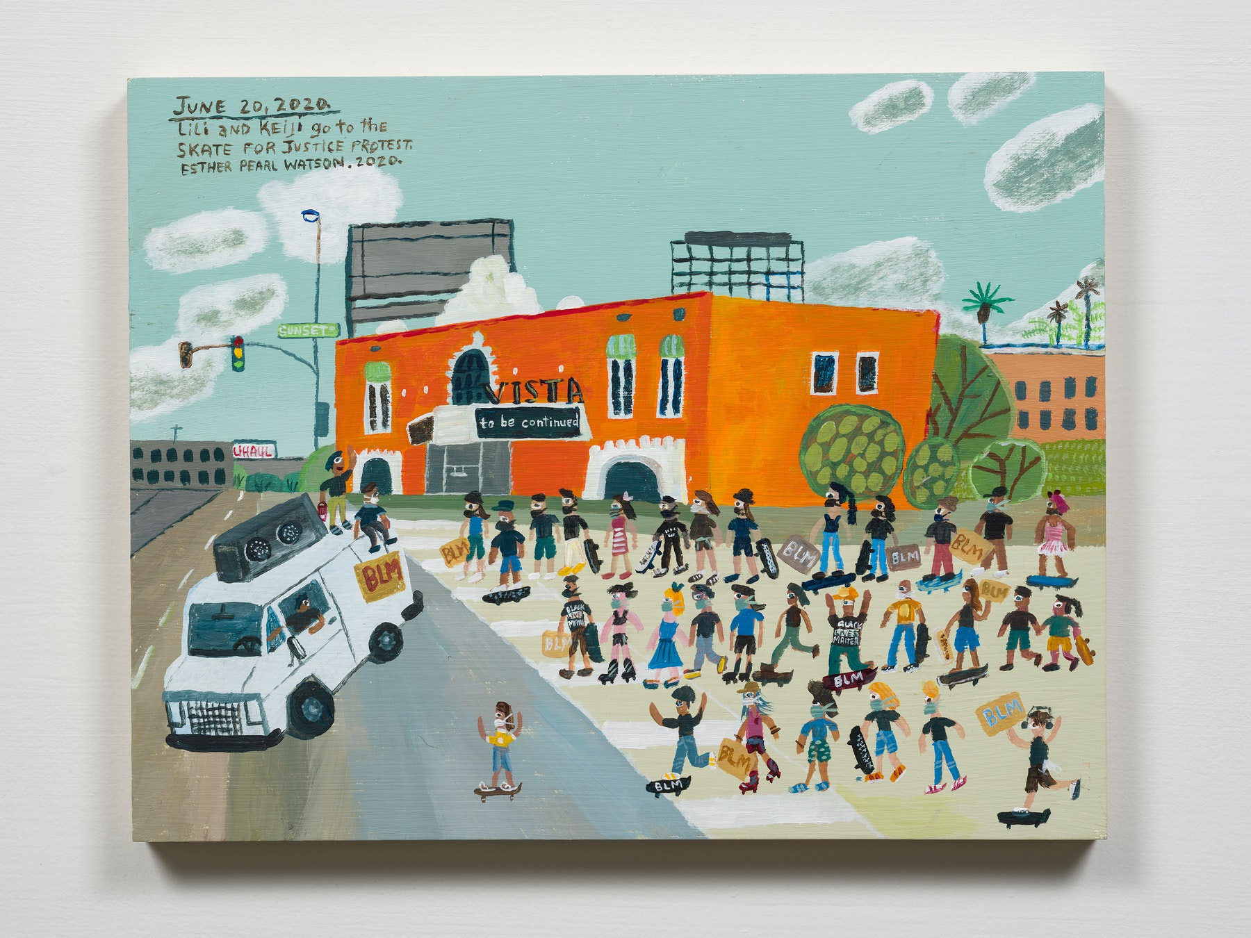 """Esther Pearl Watson """"June 20, Skate for Justice Protest,"""" 2020 Acrylic with pencil on panel 11 x 14"""" [HxW] (27.94 x 35.56 cm) Inventory #EPW301 Courtesy of the artist and Vielmetter Los Angeles Photo credit: Jeff Mclane"""