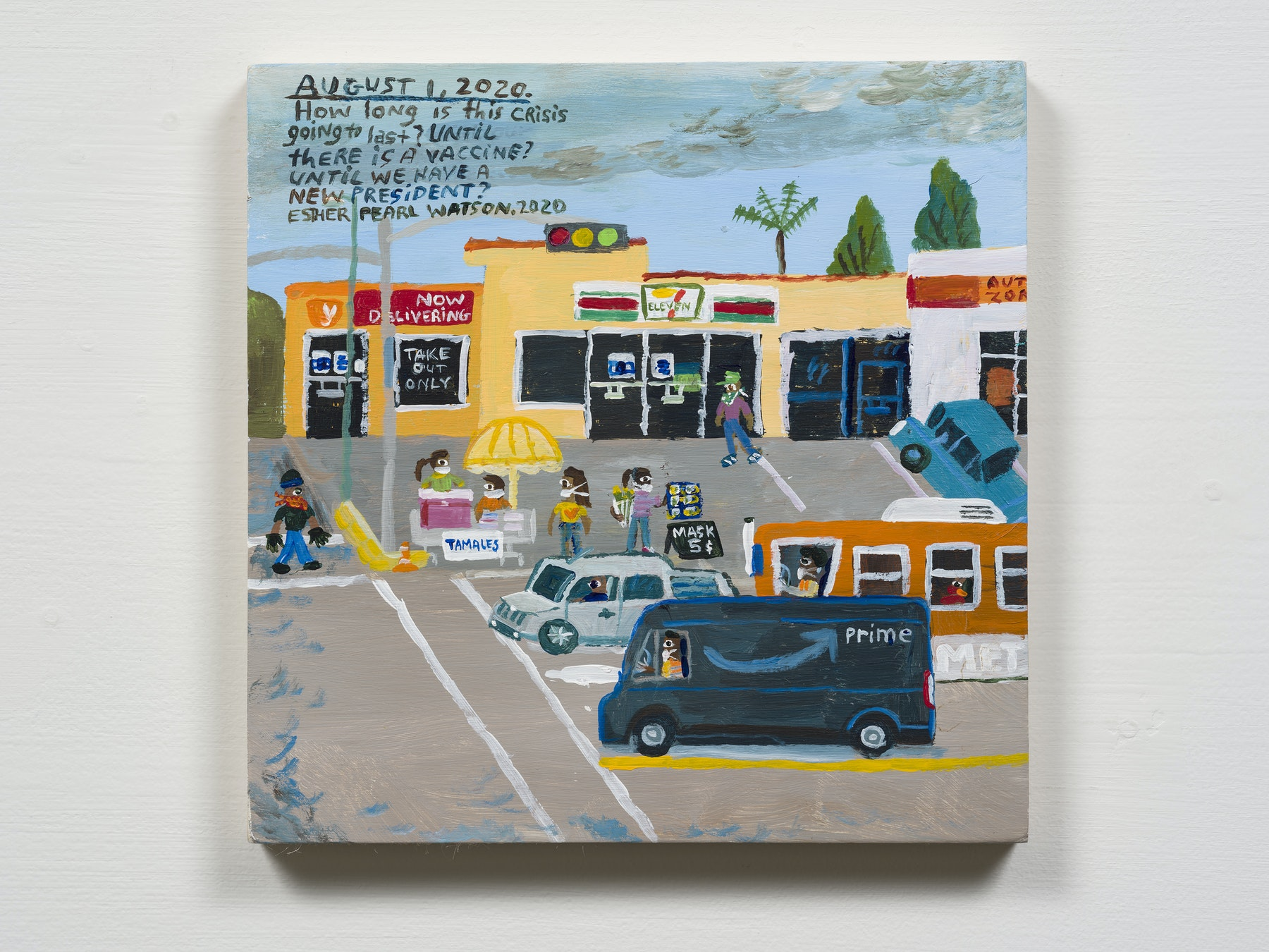 """Esther Pearl Watson """"August 1, How Long Is This Crisis Going to Last?,"""" 2020 Acrylic with pencil on panel 8 x 8"""" [HxW] (20.32 x 20.32 cm) Inventory #EPW319 Courtesy of the artist and Vielmetter Los Angeles Photo credit: Jeff Mclane"""