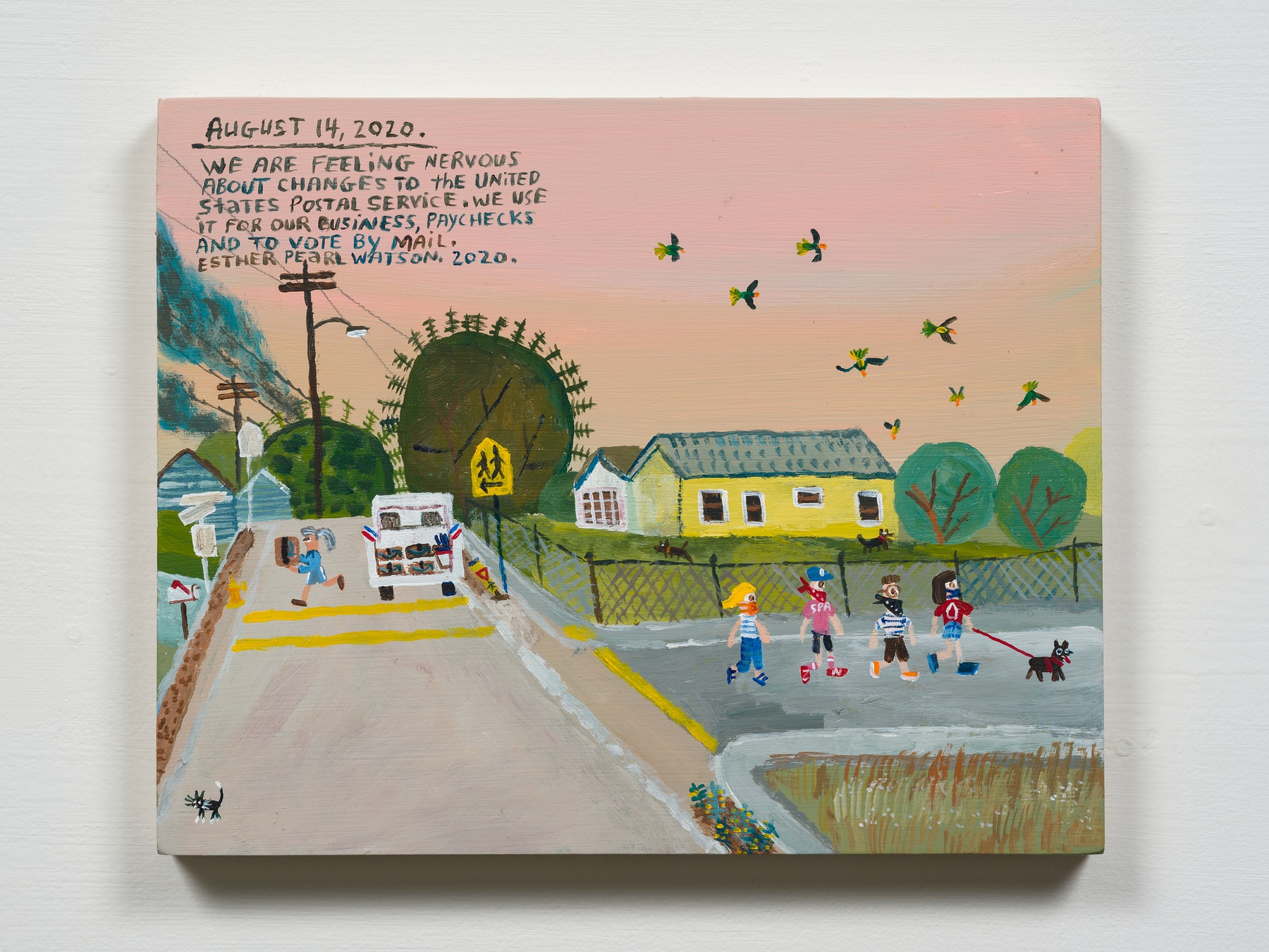 """Esther Pearl Watson """"August 14, Changes To the United States Postal Service,"""" 2020 Acrylic with pencil on panel 8 x 10"""" [HxW] (20.32 x 25.4 cm) Inventory #EPW326 Courtesy of the artist and Vielmetter Los Angeles Photo credit: Jeff Mclane"""