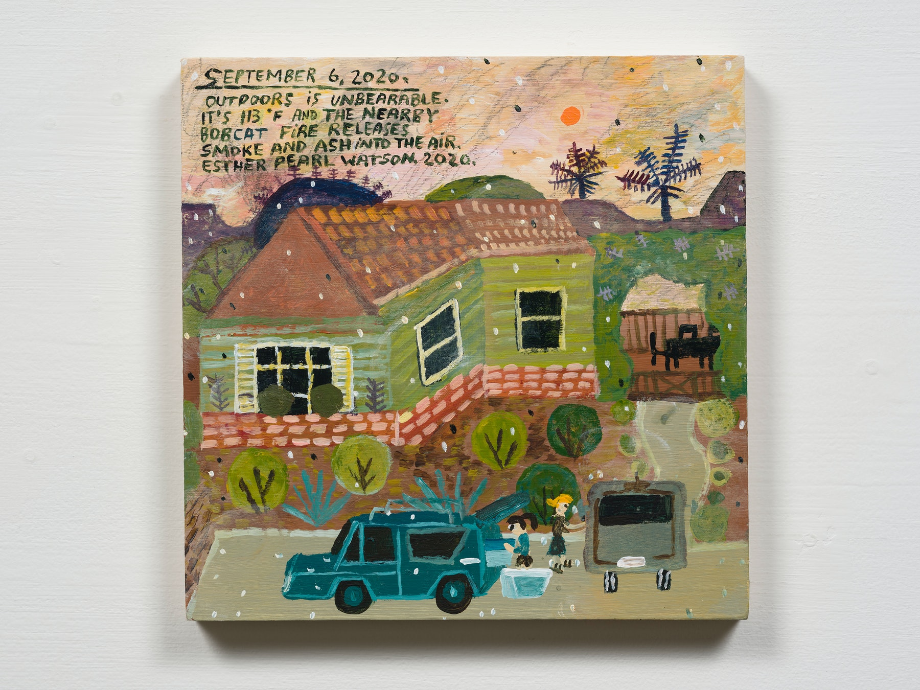 """Esther Pearl Watson """"September 6, Outdoors Is Unbearable,"""" 2020 Acrylic with pencil on panel 8 x 8"""" [HxW] (20.32 x 20.32 cm) Inventory #EPW334 Courtesy of the artist and Vielmetter Los Angeles Photo credit: Jeff Mclane"""