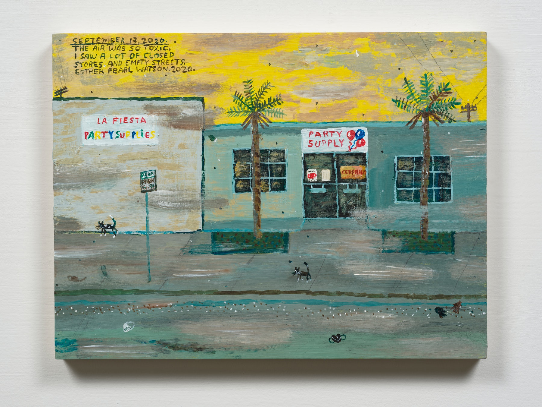 """Esther Pearl Watson """"September 13, The Air Was So Toxic,"""" 2020 Acrylic with pencil on panel 9 x 12"""" [HxW] (22.86 x 30.48 cm) Inventory #EPW337 Courtesy of the artist and Vielmetter Los Angeles Photo credit: Jeff Mclane"""