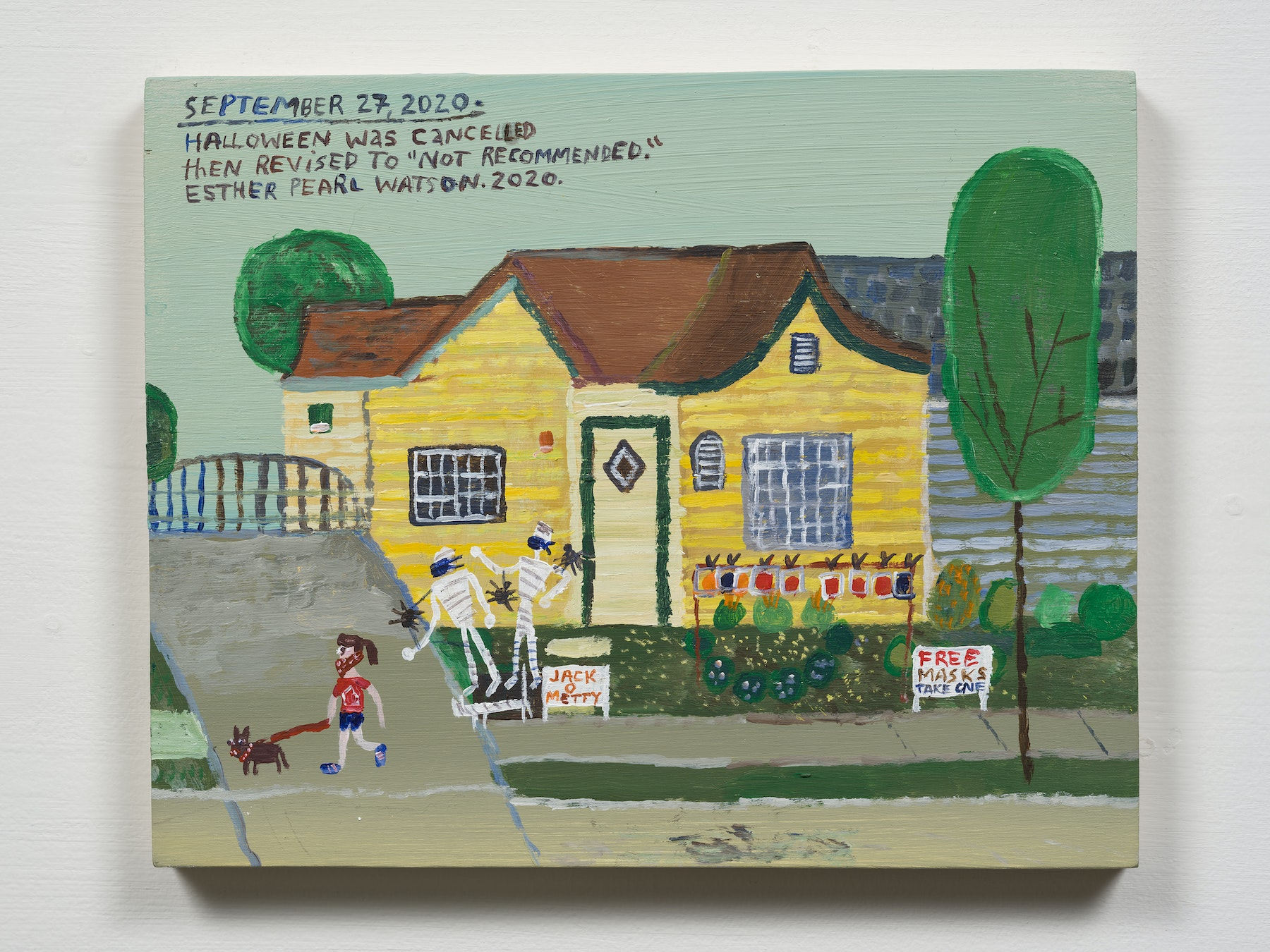 """Esther Pearl Watson """"September 27, Halloween Not Recommended,"""" 2020 Acrylic with pencil on panel 8 x 10"""" [HxW] (20.32 x 25.4 cm) Inventory #EPW346 Courtesy of the artist and Vielmetter Los Angeles Photo credit: Jeff Mclane"""