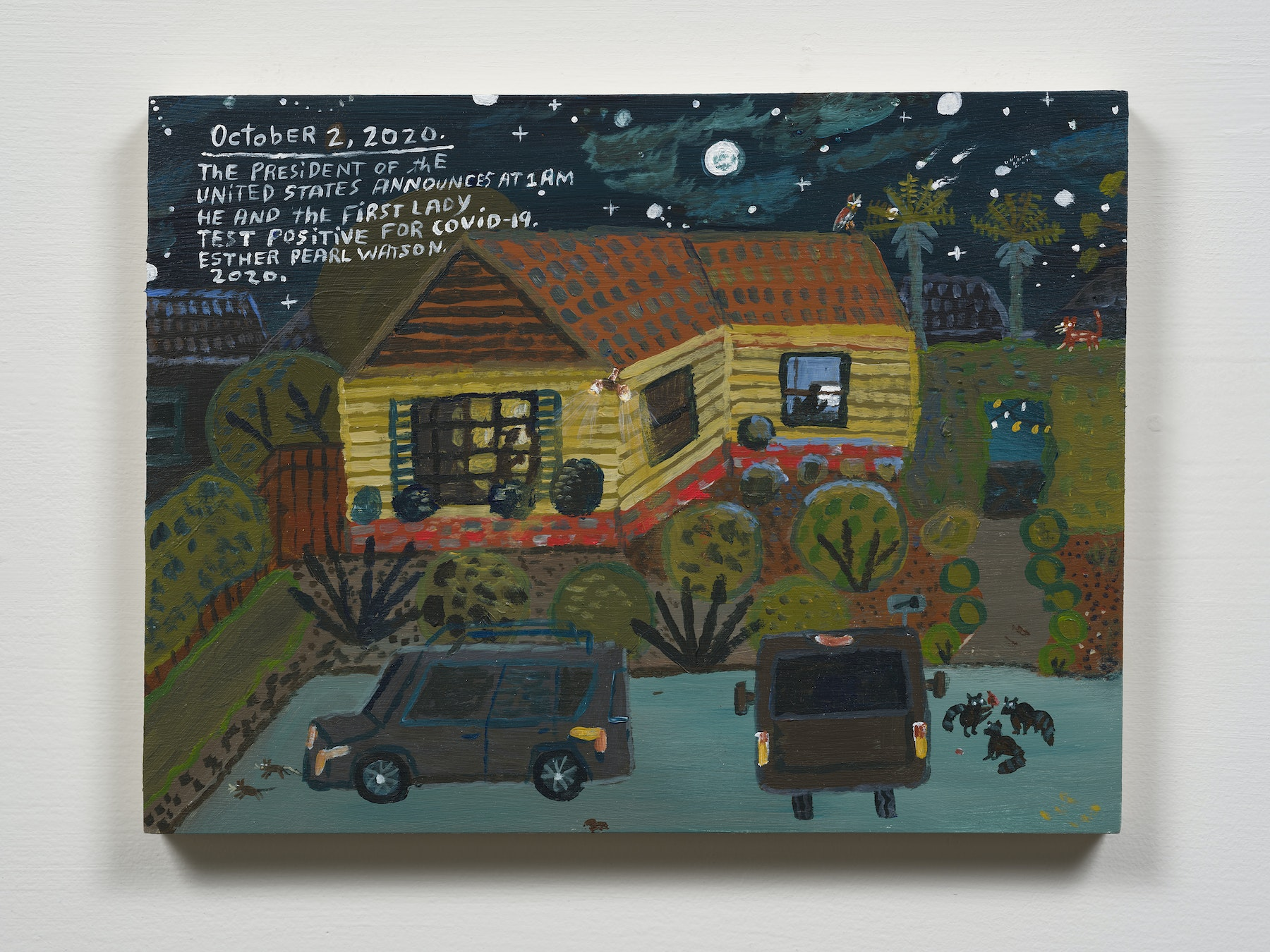 """Esther Pearl Watson """"October 2, President and First Lady test Positive,"""" 2020 Acrylic with pencil on panel 9 x 12"""" [HxW] (22.86 x 30.48 cm) Inventory #EPW347 Courtesy of the artist and Vielmetter Los Angeles Photo credit: Jeff Mclane"""