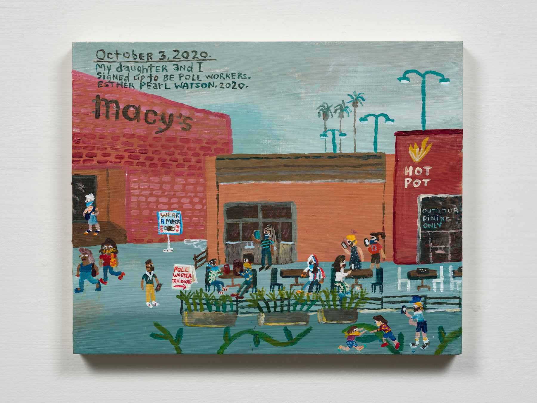 """Esther Pearl Watson """"October 3, Poll Worker Sign Up,"""" 2020 Acrylic with pencil on panel 8 x 10"""" [HxW] (20.32 x 25.4 cm) Inventory #EPW348 Courtesy of the artist and Vielmetter Los Angeles Photo credit: Jeff Mclane"""