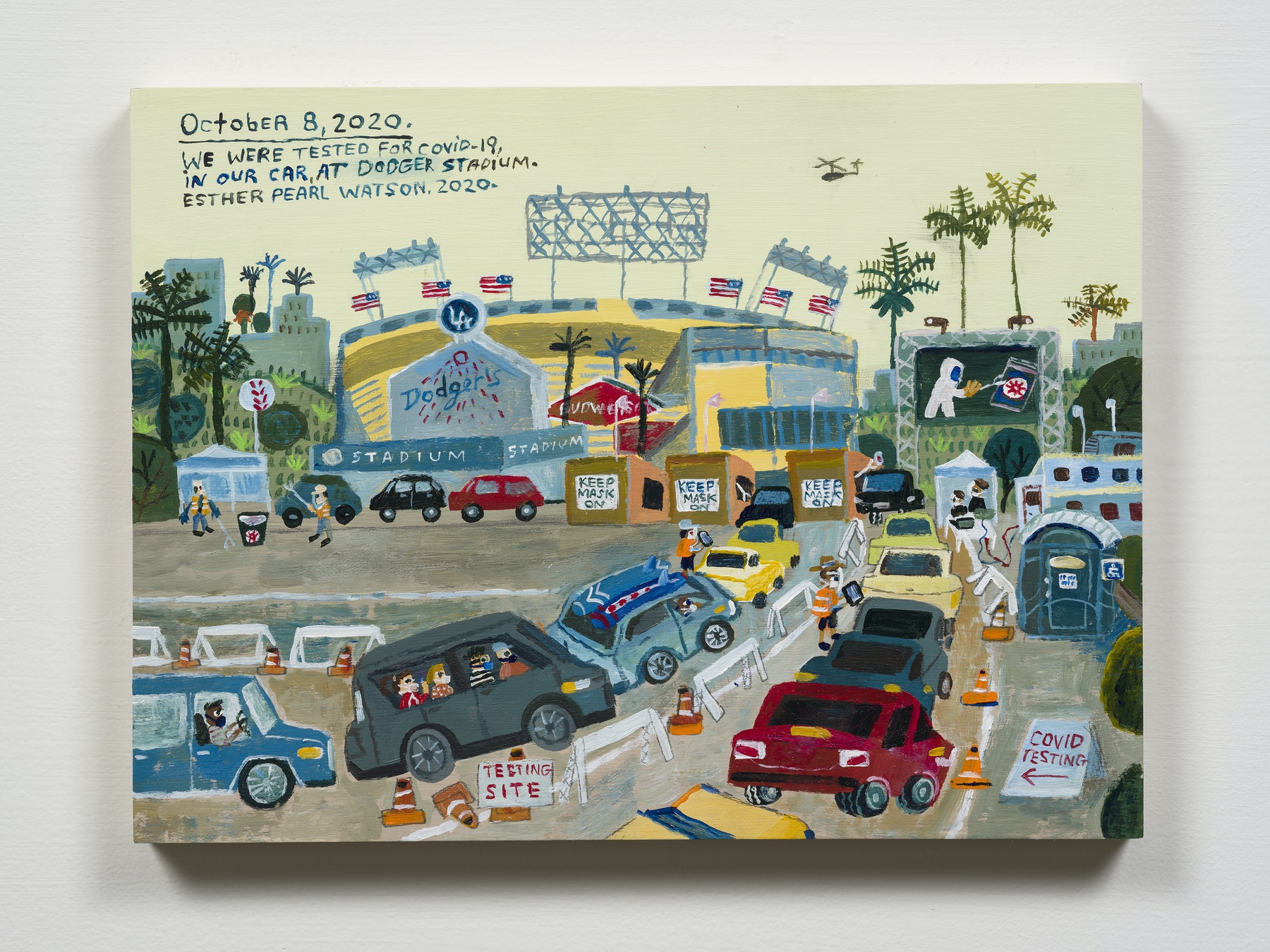 """Esther Pearl Watson """"October 8, Covid Test, Dodger Stadium,"""" 2020 Acrylic with pencil on panel 9 x 12"""" [HxW] (22.86 x 30.48 cm) Inventory #EPW349 Courtesy of the artist and Vielmetter Los Angeles Photo credit: Jeff Mclane"""
