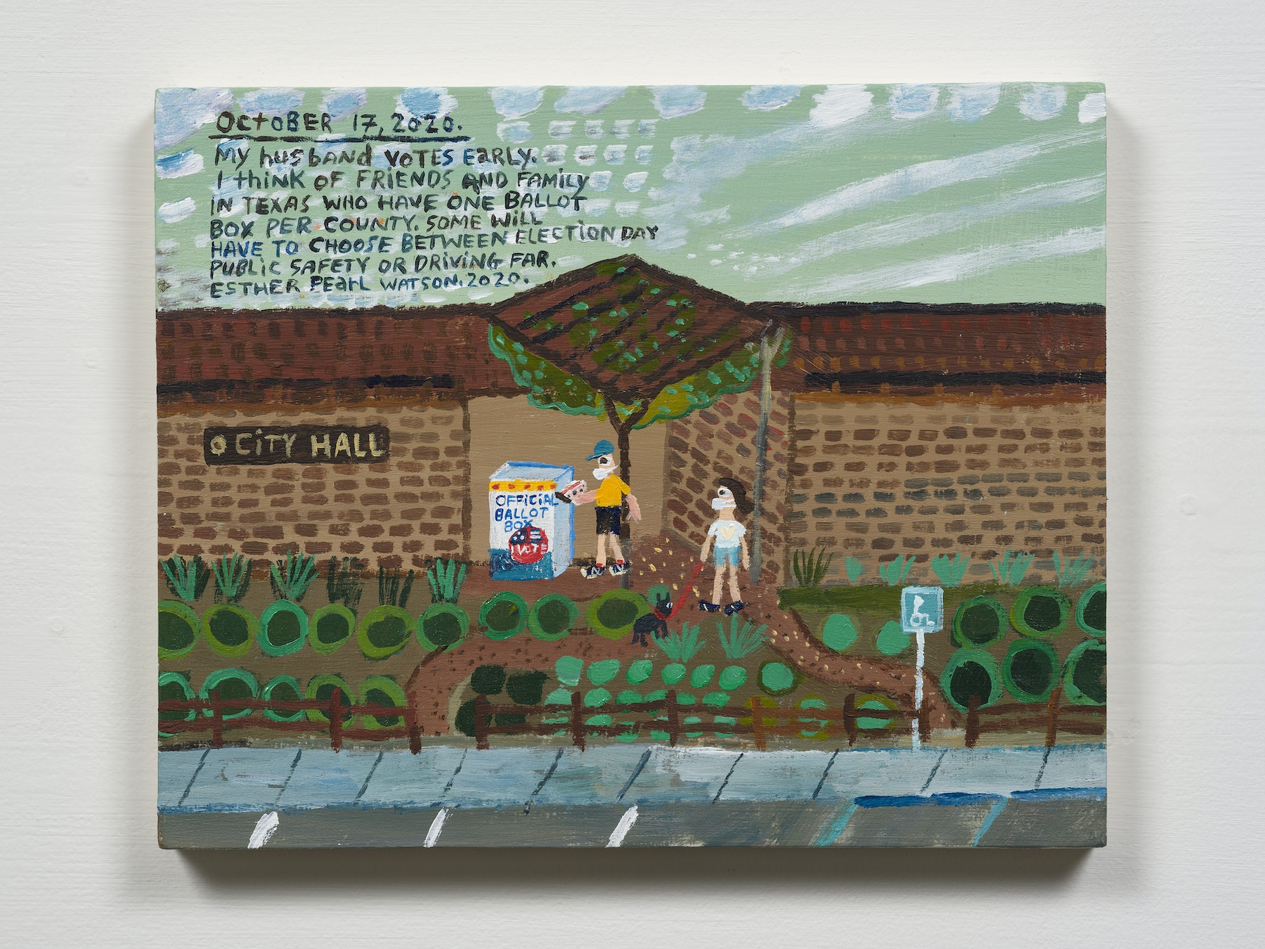 """Esther Pearl Watson """"October 17, City Hall Ballot Box,"""" 2020 Acrylic with pencil on panel 8 x 10"""" [HxW] (20.32 x 25.4 cm) Inventory #EPW353 Courtesy of the artist and Vielmetter Los Angeles Photo credit: Jeff Mclane"""