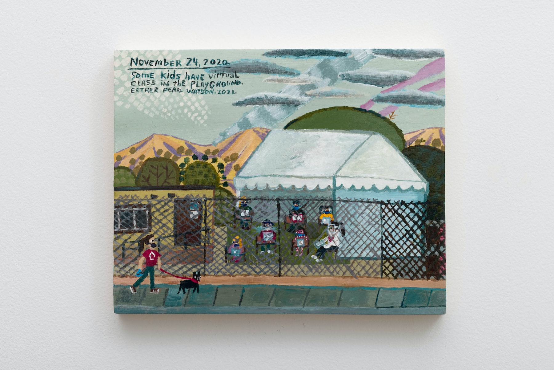 """Esther Pearl Watson """"November 24, Virtual Class in the Playground,"""" 2020 Acrylic on panel 8"""" x 10"""" x ⁷⁄₈"""" [HxWxD] (20.32 x 25.4 x 2.21 cm) Inventory #EPW393 Courtesy of the artist and Vielmetter Los Angeles Photo credit: Jeff McLane Signed and dated on back"""