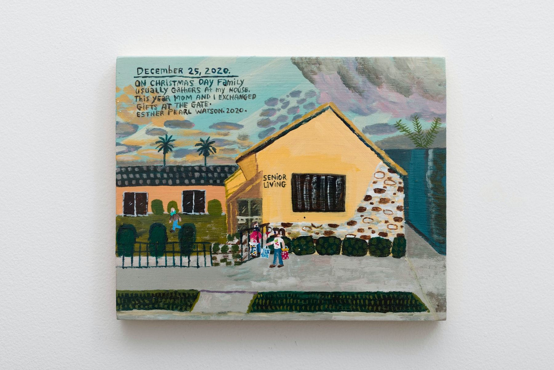 """Esther Pearl Watson """"December 25, Exchanged Gifts at the Gate,"""" 2020 Acrylic on panel 8"""" x 10"""" x ⁷⁄₈"""" [HxWxD] (20.32 x 25.4 x 2.21 cm) Inventory #EPW397 Courtesy of the artist and Vielmetter Los Angeles Photo credit: Jeff McLane Signed and dated on back"""