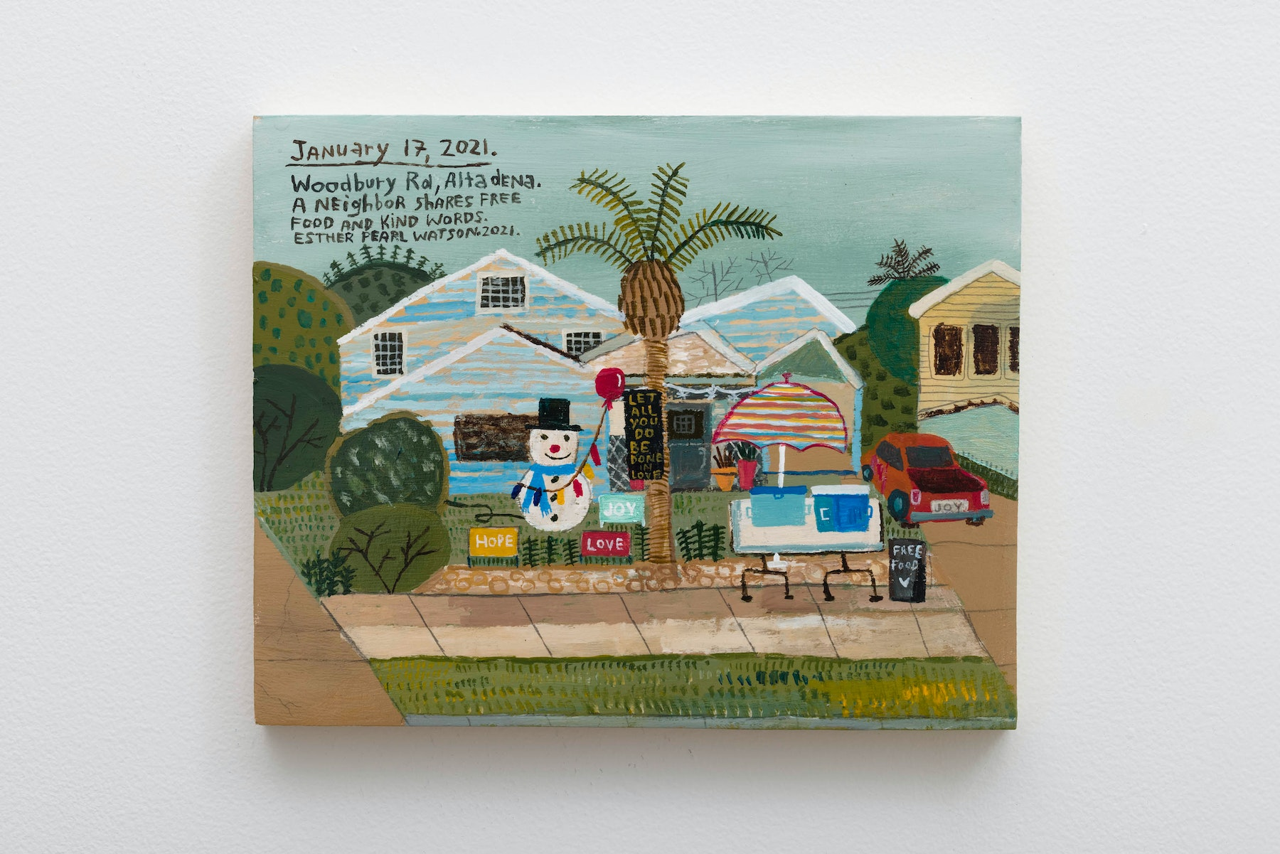 """Esther Pearl Watson """"January 17, A Neighbor Shares Free Food,"""" 2021 Acrylic on panel 8"""" x 10"""" x ⁷⁄₈"""" [HxWxD] (20.32 x 25.4 x 2.21 cm) Inventory #EPW401 Courtesy of the artist and Vielmetter Los Angeles Photo credit: Jeff McLane Signed and dated on back"""