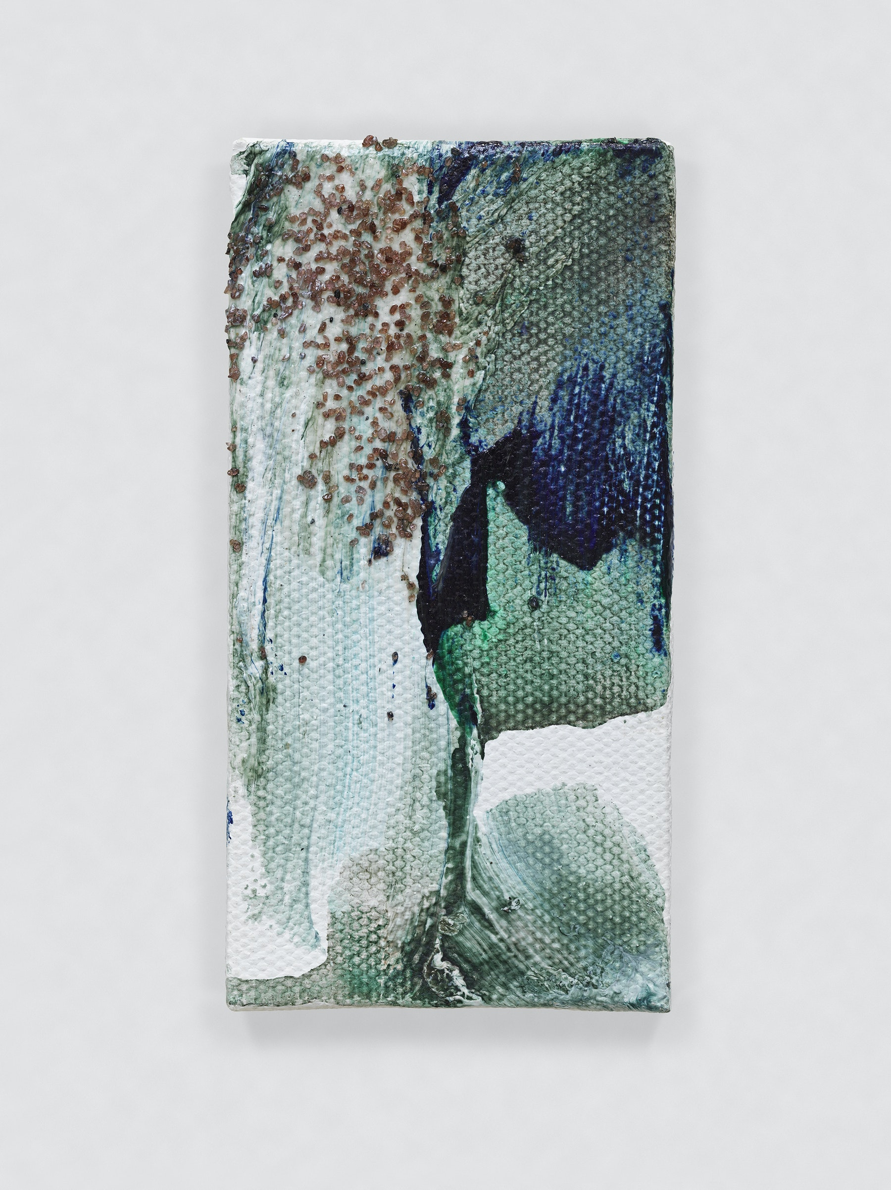 """Louise Fishman """"UNTITLED,"""" 2014 Oil, sand and glue on canvas 4.06 x 2.09"""" [HxW] (10.31 x 5.31 cm) Inventory #FIS141 Courtesy of the artist and Vielmetter Los Angeles Photo credit: Genevieve Hanson Signed and dated on verso"""
