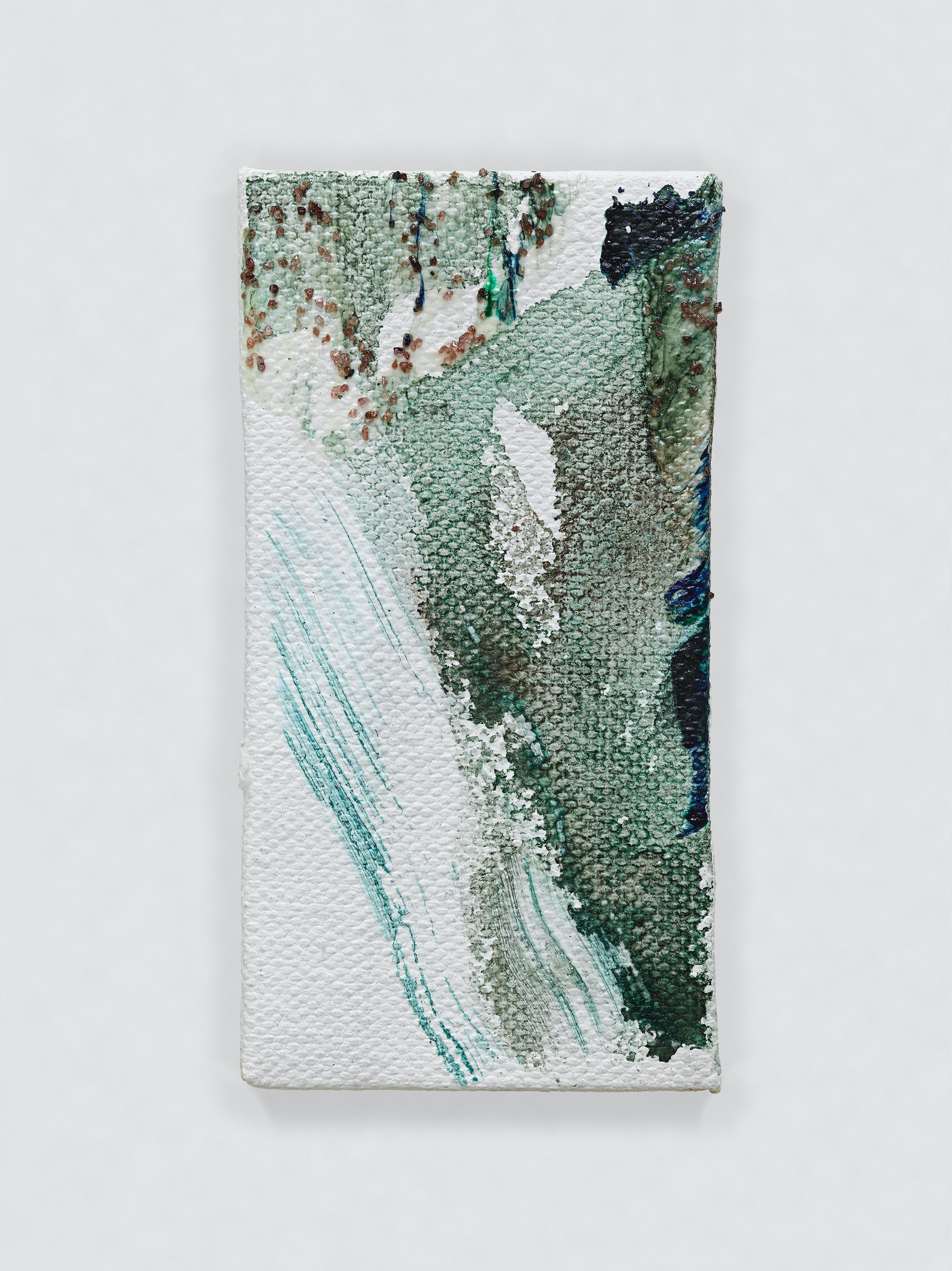 "Louise Fishman ""UNTITLED,"" 2014 Oil, sand and glue on canvas 4.06 x 2.09"" [HxW] (10.31 x 5.31 cm) Inventory #FIS142 Courtesy of the artist and Vielmetter Los Angeles Photo credit: Genevieve Hanson Signed and dated on verso"