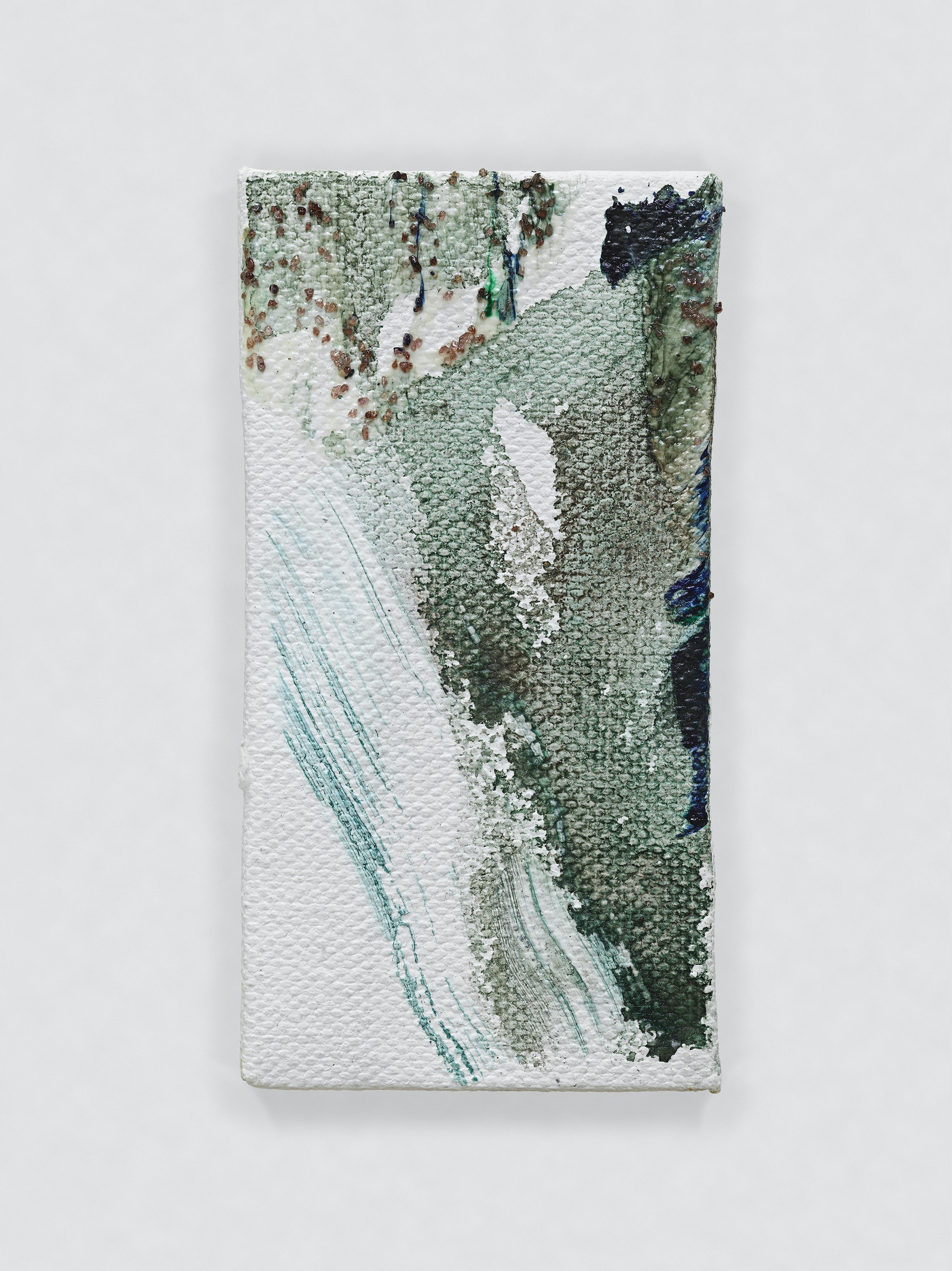 """Louise Fishman """"UNTITLED,"""" 2014 Oil, sand and glue on canvas 4.06 x 2.09"""" [HxW] (10.31 x 5.31 cm) Inventory #FIS142 Courtesy of the artist and Vielmetter Los Angeles Photo credit: Genevieve Hanson Signed and dated on verso"""