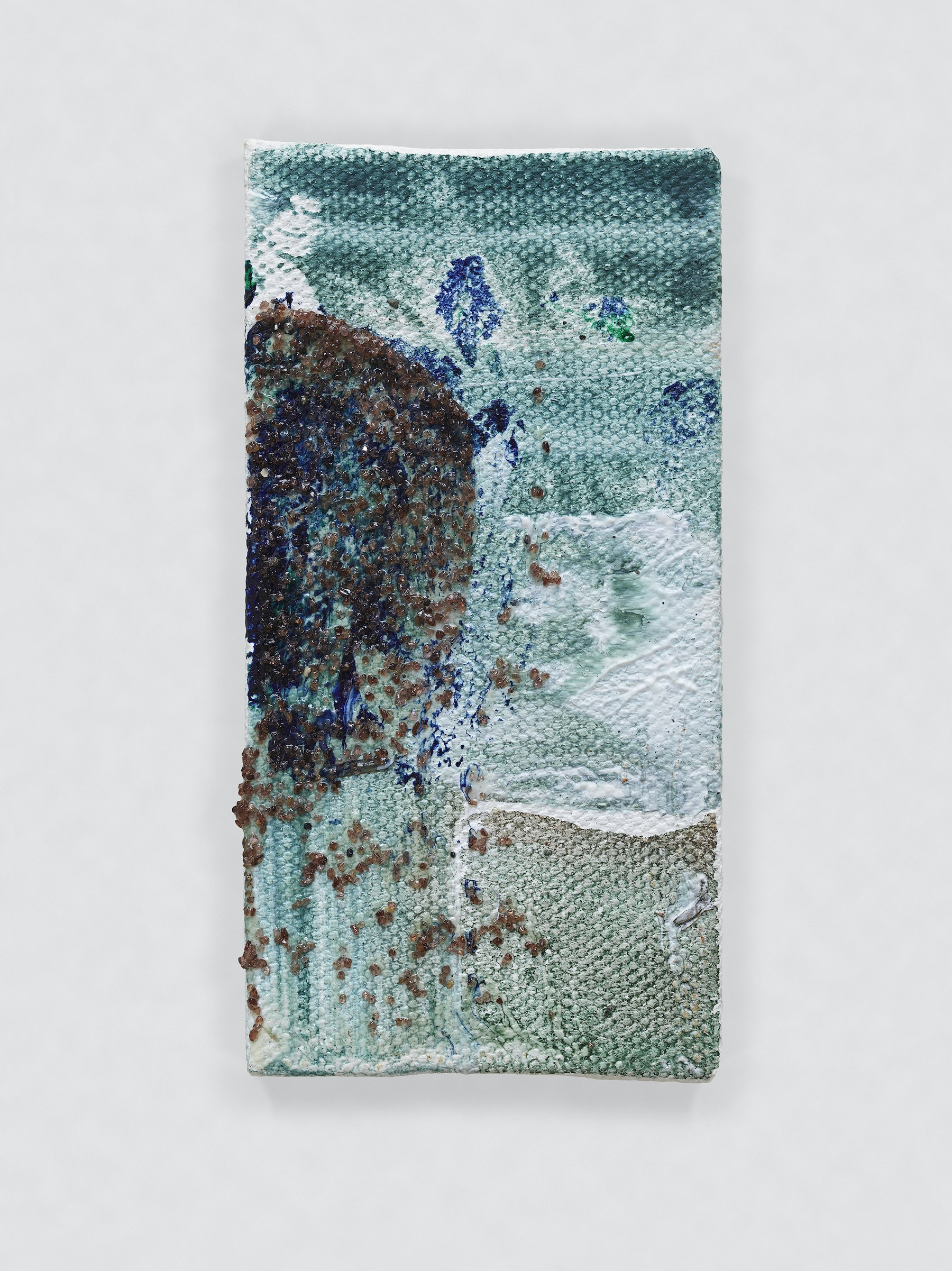"""Louise Fishman """"UNTITLED,"""" 2014 Oil, sand and glue on canvas 4.06 x 2.09"""" [HxW] (10.31 x 5.31 cm) Inventory #FIS143 Courtesy of the artist and Vielmetter Los Angeles Photo credit: Genevieve Hanson Signed and dated on verso"""