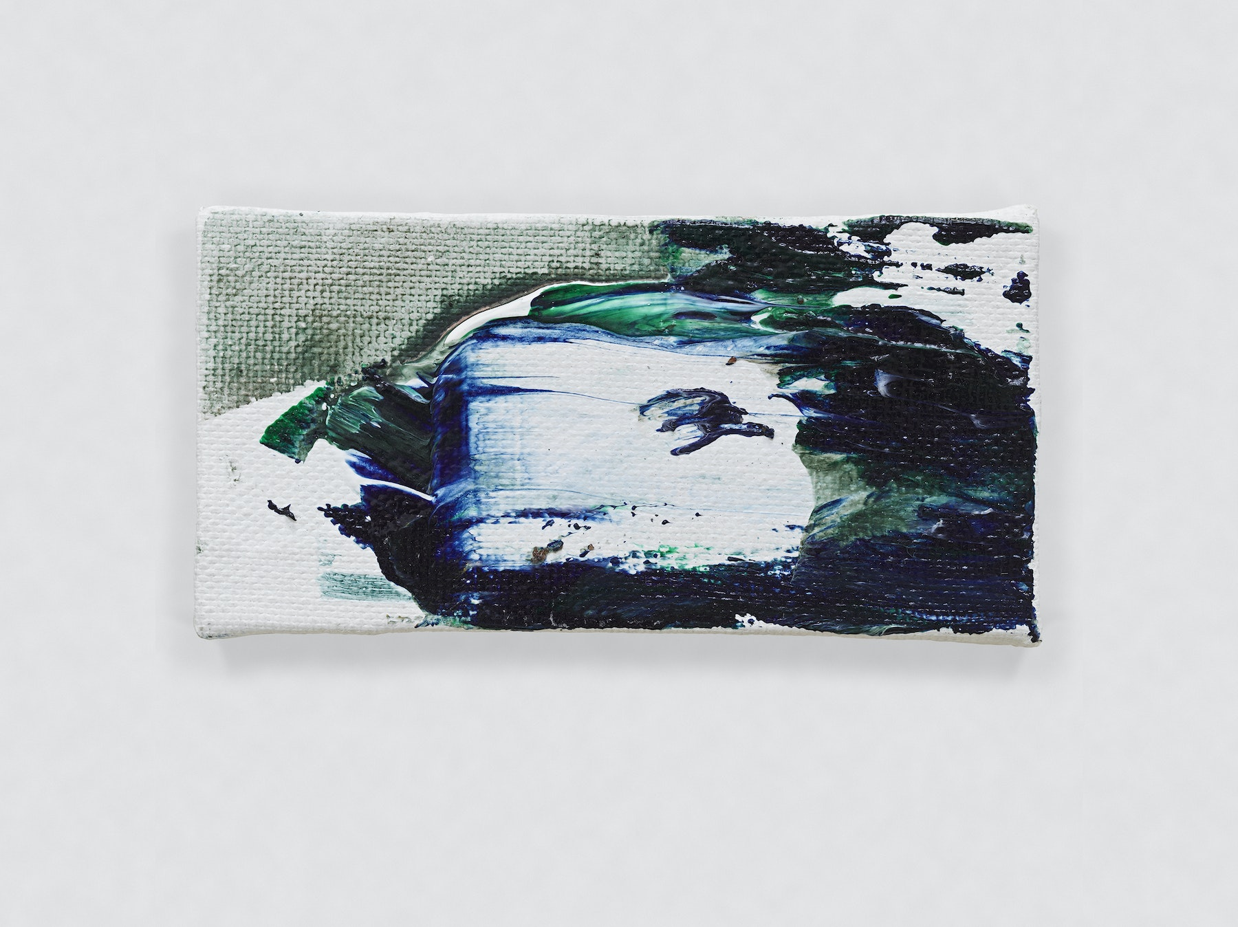 """Louise Fishman """"UNTITLED,"""" 2014 Oil on canvas 2.09 x 4.06"""" [HxW] (5.31 x 10.31 cm) Inventory #FIS146 Courtesy of the artist and Vielmetter Los Angeles Photo credit: Genevieve Hanson Signed and dated on verso"""