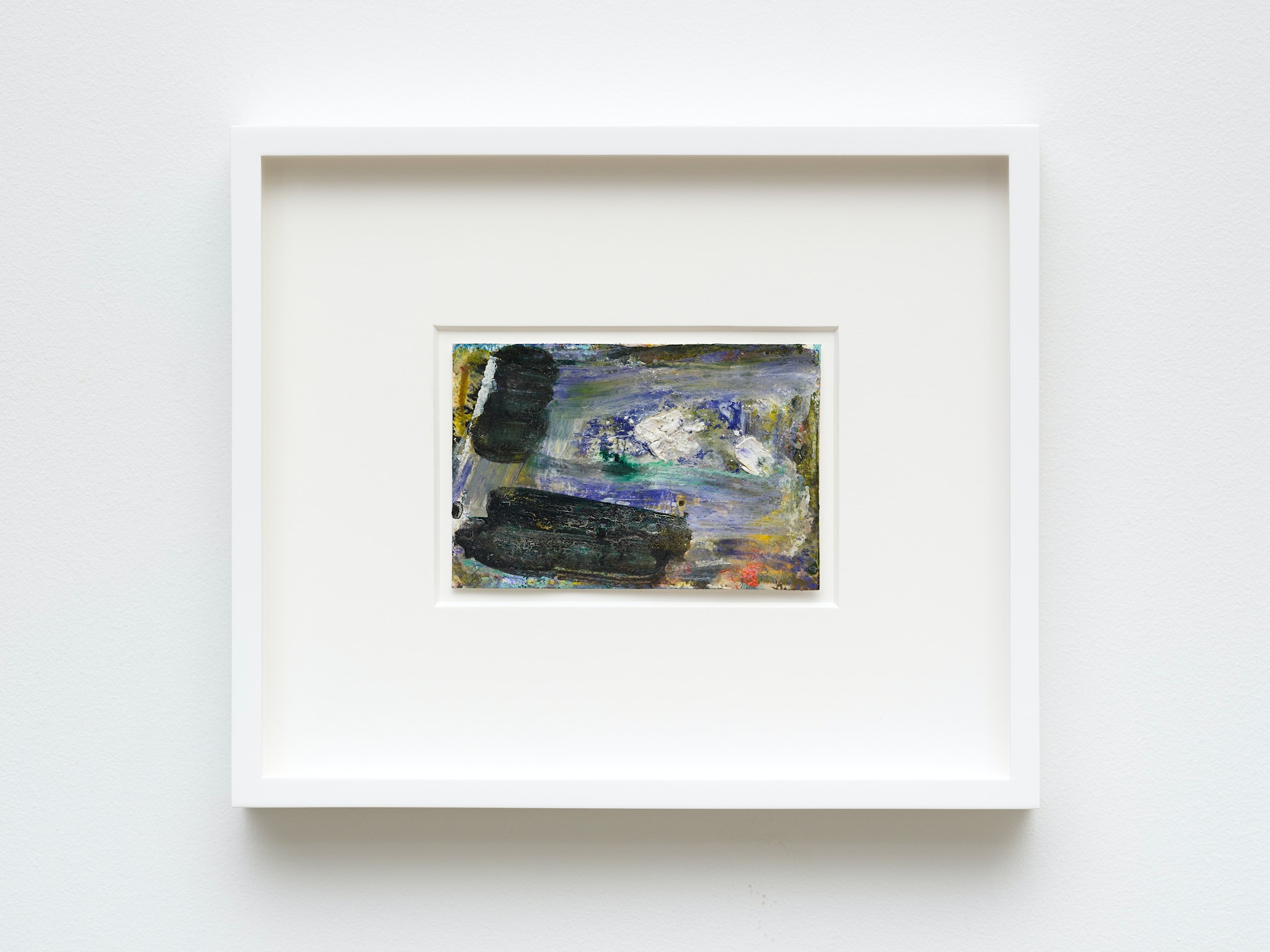 """Louise Fishman """"UNTITLED,"""" 2020 Watercolor and ProWhite on board 4"""" x 6"""" [HxW] (10.16 x 15.24 cm) unframed, 11"""" x 13"""" x 1 ¹⁄₂"""" [HxWxD] (27.94 x 33.02 x 3.81 cm) framed Inventory #FIS160 Courtesy of the artist and Vielmetter Los Angeles Photo credit: Jeff Mclane"""