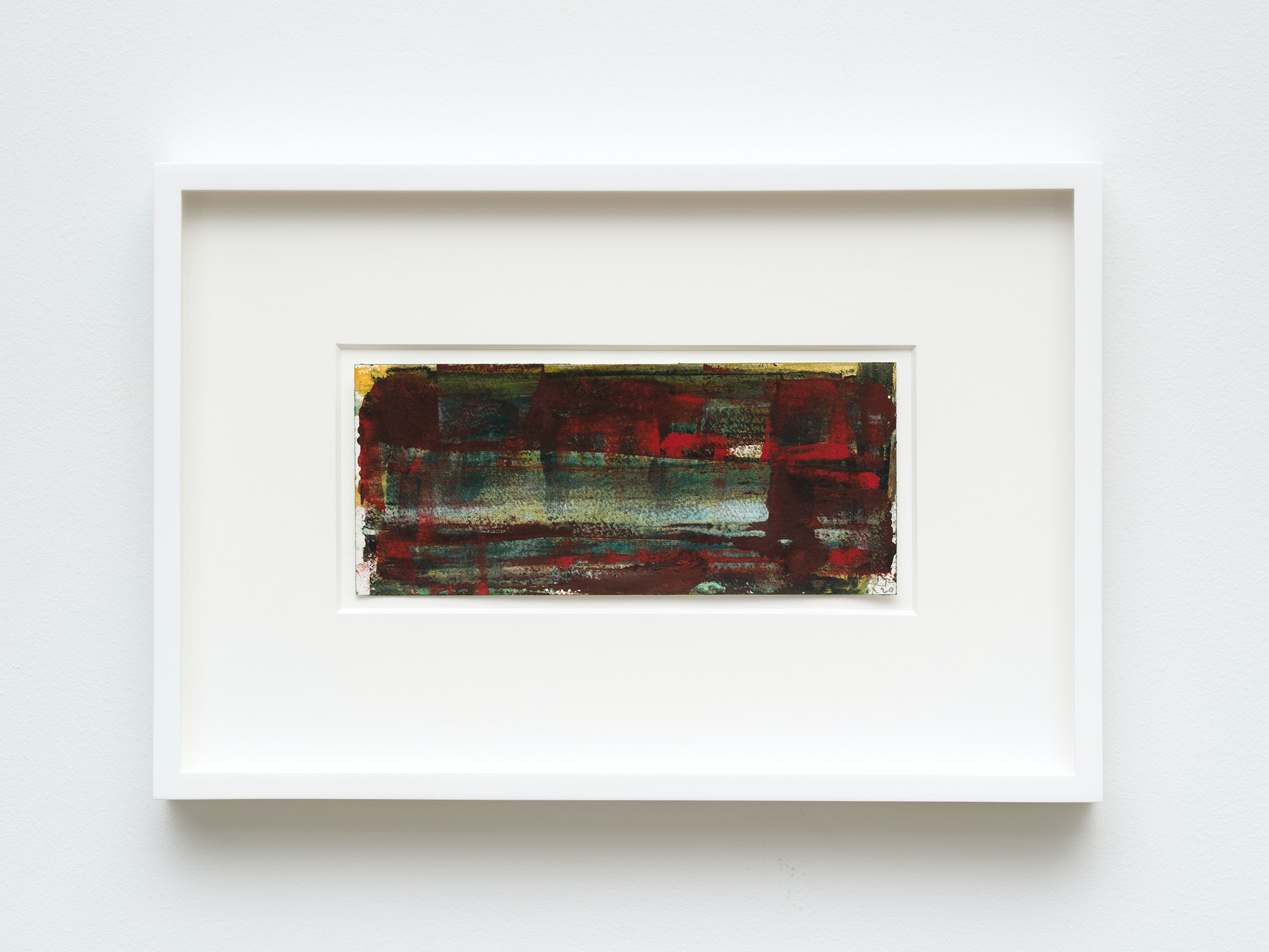 """Louise Fishman """"UNTITLED,"""" 2020 Watercolor on paper 4 ¹⁄₄"""" x 9 ¹⁄₂"""" [HxW] (10.79 x 24.13 cm) unframed, 11 ¹⁄₄"""" x 16 ³⁄₄"""" x 1 ¹⁄₂"""" [HxWxD] (28.57 x 42.54 x 3.81 cm) framed Inventory #FIS162 Courtesy of the artist and Vielmetter Los Angeles Photo credit: Jeff Mclane"""