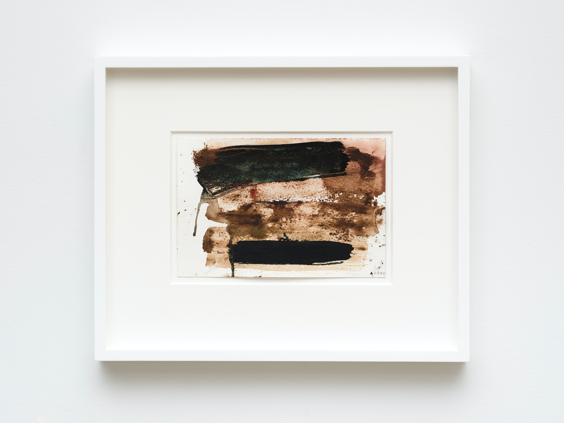 """Louise Fishman """"UNTITLED,"""" 2020 Watercolor on paper 6"""" x 9"""" [HxW] (15.24 x 22.86 cm) unframed, 13"""" x 16"""" x 1 ¹⁄₂"""" [HxWxD] (33.02 x 40.64 x 3.81 cm) framed Inventory #FIS163 Courtesy of the artist and Vielmetter Los Angeles Photo credit: Jeff Mclane"""