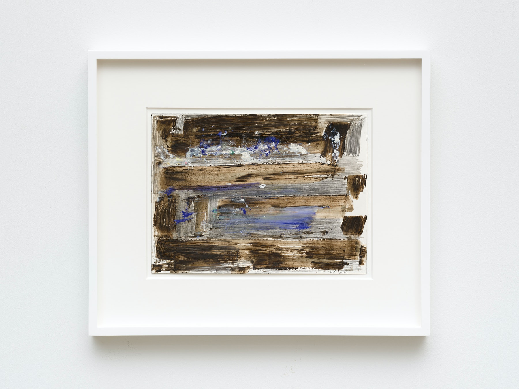 """Louise Fishman """"UNTITLED,"""" 2020 Watercolor, graphite, ProWhite on paper 9"""" x 12"""" [HxW] (22.86 x 30.48 cm) unframed, 16"""" x 19 ¹⁄₄"""" x 1 ¹⁄₂"""" [HxWxD] (40.64 x 48.89 x 3.81 cm) framed Inventory #FIS166 Courtesy of the artist and Vielmetter Los Angeles Photo credit: Jeff Mclane"""