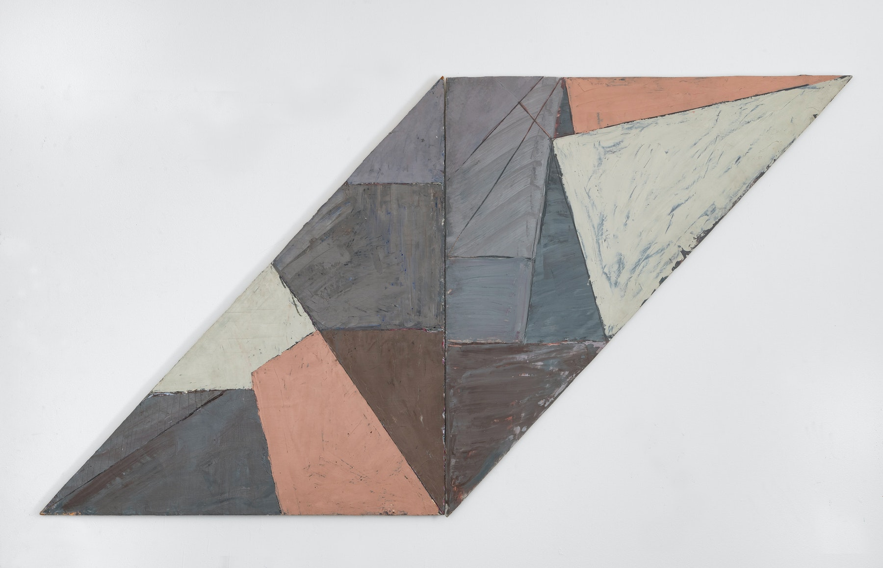 """Louise Fishman """"IRREGULAR DIPTYCH / PARALLELOGRAM,"""" 1975 Oil on wood diptych 43 ¹⁄₂"""" x 80 ¹⁄₂"""" x 1"""" [HxWxD] (110.49 x 204.47 x 2.54 cm) Inventory #FIS167 Courtesy of the artist and Vielmetter Los Angeles Photo credit: Adam Reich"""