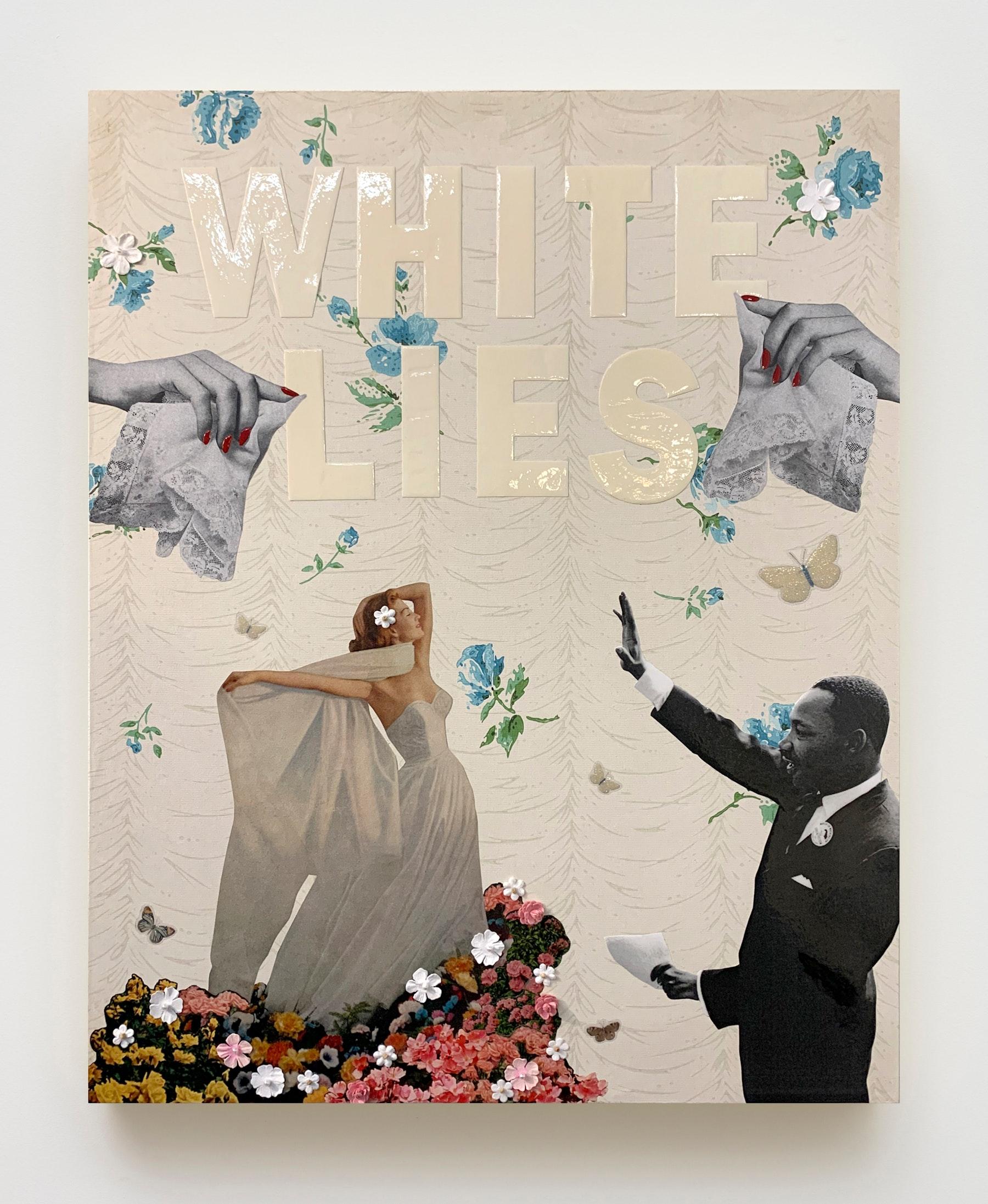 "Genevieve Gaignard ""White Lies,"" 2020 Mixed media on panel 20 x 16 x 1.5"" [HxWxD] (50.8 x 40.64 x 3.81 cm) Inventory #GEN318 Courtesy of the artist and Vielmetter Los Angeles"