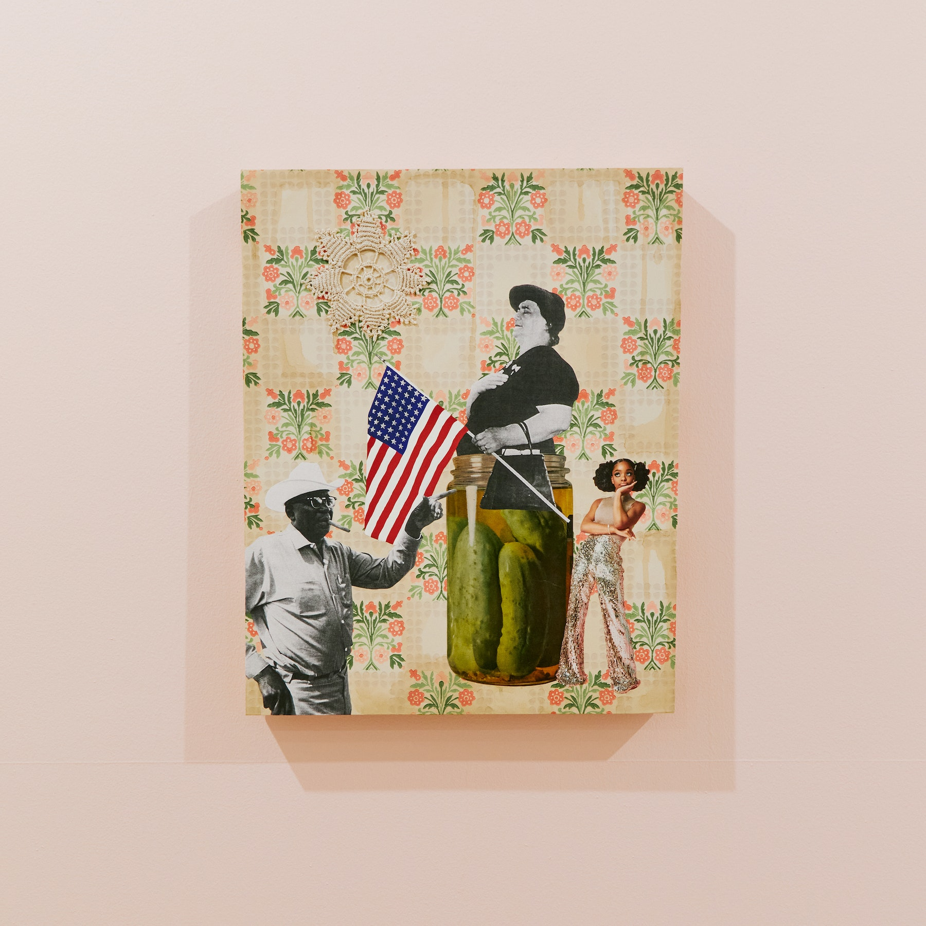 """Genevieve Gaignard """"America — In a Pickle,"""" 2020 Mixed media on panel 16 x 20 x 1.5"""" [HxWxD] (40.64 x 50.8 x 3.81 cm) Inventory #GEN326 Courtesy of the artist and Vielmetter Los Angeles Photo credit: Megan Haley"""