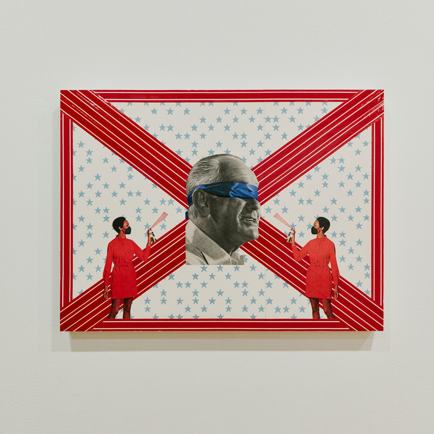 """Genevieve Gaignard """"Disinfect Our Politics,"""" 2020 Mixed media on panel 18 x 24 x 1.5"""" [HxWxD] (45.72 x 60.96 x 3.81 cm) Inventory #GEN321 Courtesy of the artist and Vielmetter Los Angeles Photo credit: Megan Haley"""