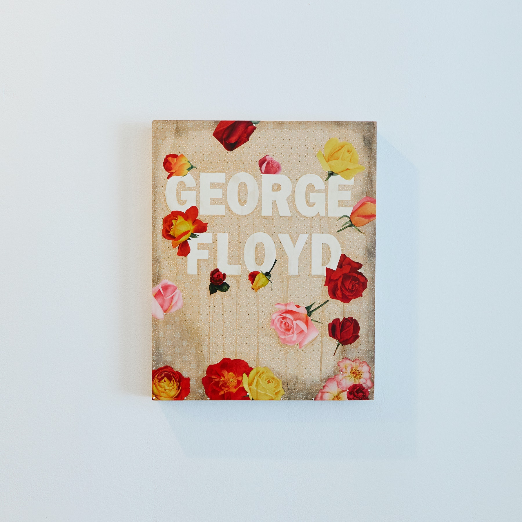 "Genevieve Gaignard ""Untitled (George Floyd),"" 2020 Mixed media on panel 20 x 16 x 1.5"" [HxWxD] (50.8 x 40.64 x 3.81 cm) Inventory #GEN323 Courtesy of the artist and Vielmetter Los Angeles Photo credit: Megan Haley"
