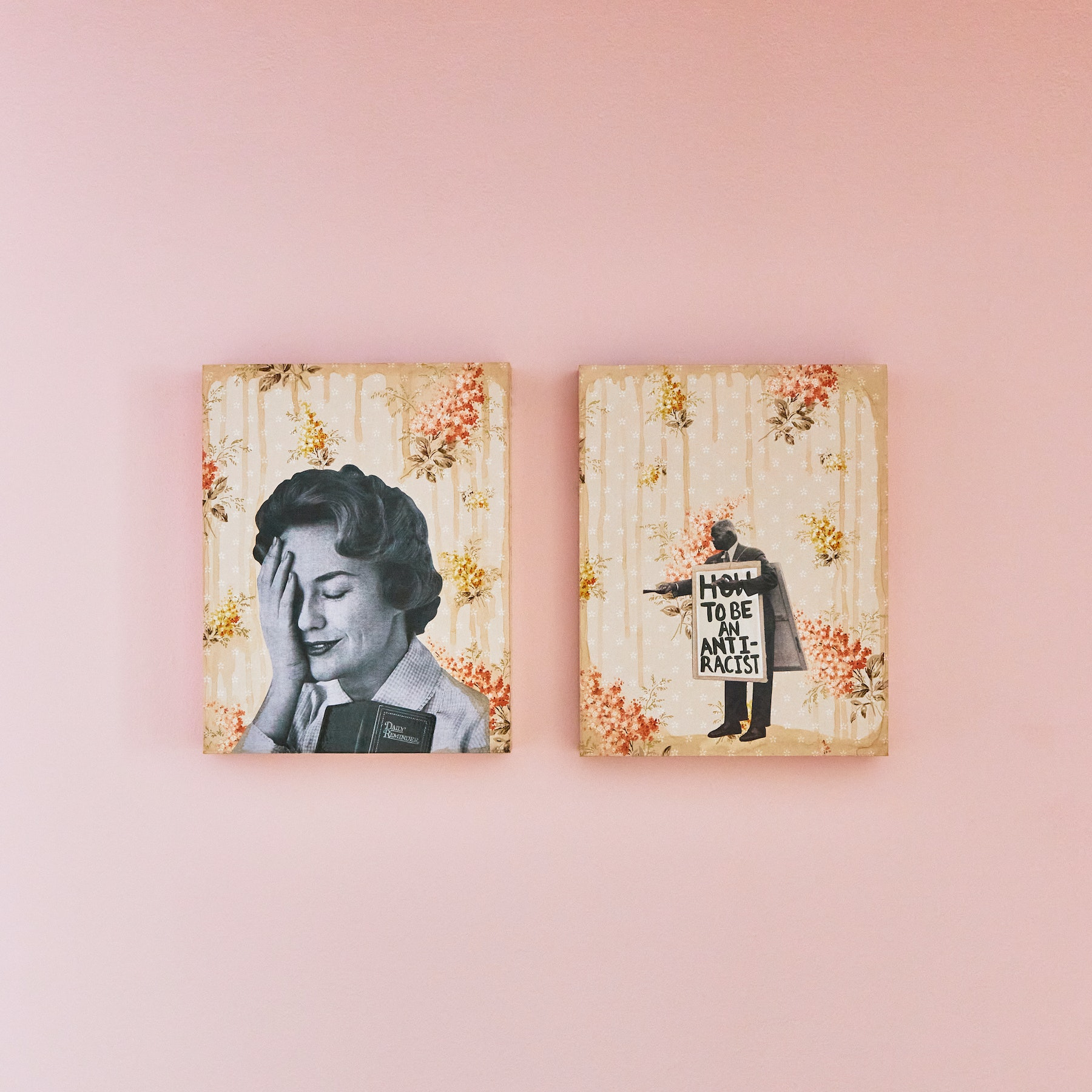 "Genevieve Gaignard ""Do The Work,"" 2020 Mixed media on panel Diptych 11 x 14 x 1.5"" [HxWxD] (27.94 x 35.56 x 3.81 cm) each Inventory #GEN327 Courtesy of the artist and Vielmetter Los Angeles Photo credit: Megan Haley"