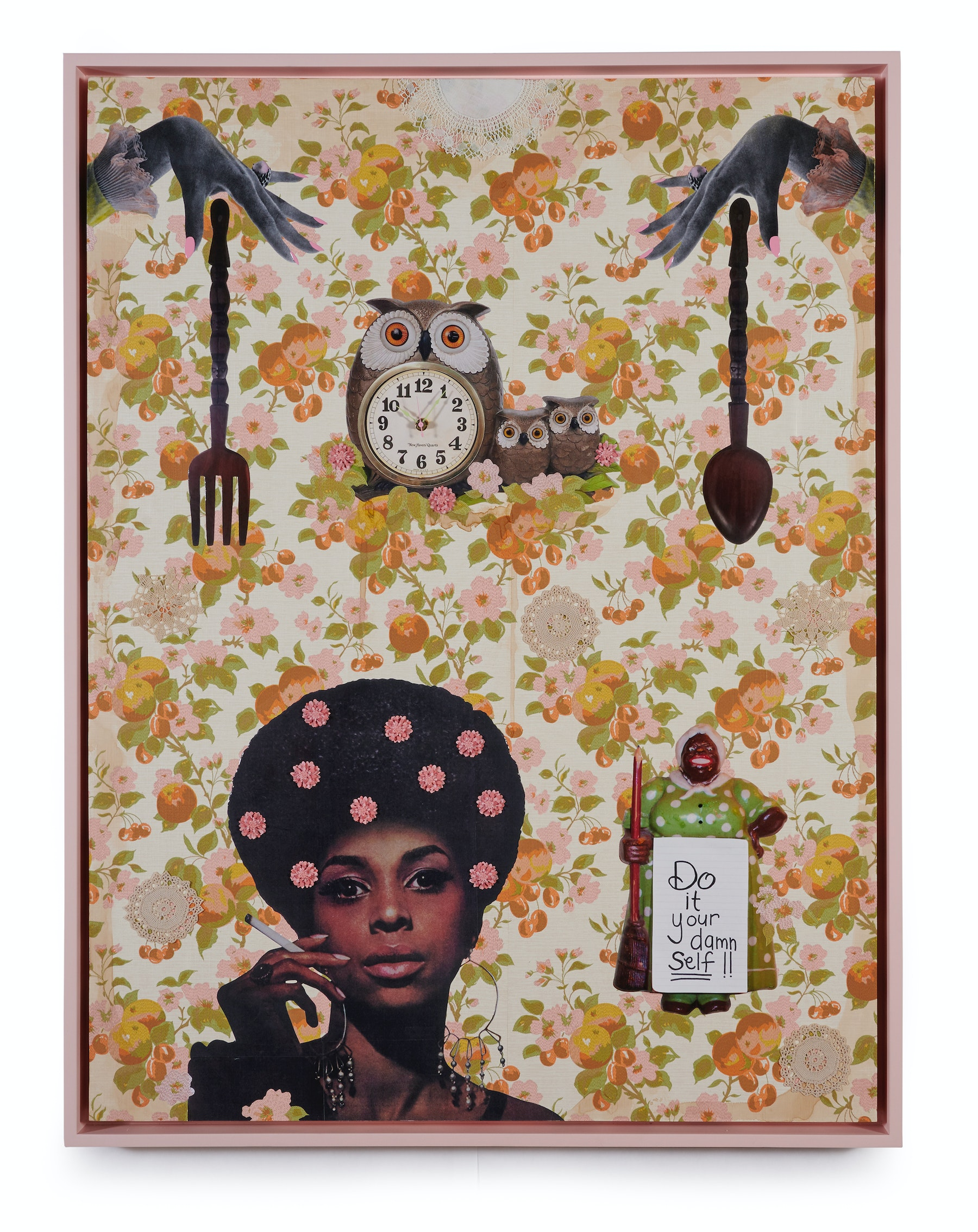 """Genevieve Gaignard """"Ain't Nobody Got Time For That,"""" 2021 Mixed media on panel 48"""" x 36"""" [HxW] (91.44 x 121.92 cm) Inventory #GEN340 Courtesy of the artist and Vielmetter Los Angeles Photo credit: Thomas Clark"""