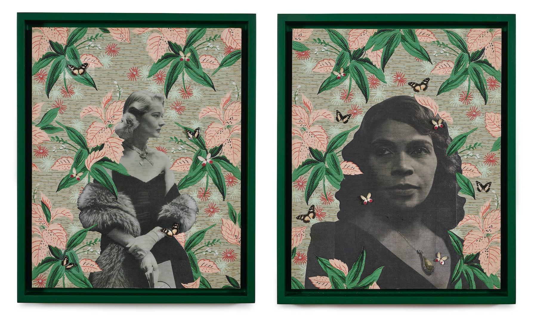 """Genevieve Gaignard """"Nobody Knows De Troubles I've Seen,"""" 2021 Mixed media on panels Diptych; 20"""" x 16"""" [HxW] (40.64 x 50.8 cm) each Inventory #GEN348 Courtesy of the artist and Vielmetter Los Angeles Photo credit: Thomas Clark"""