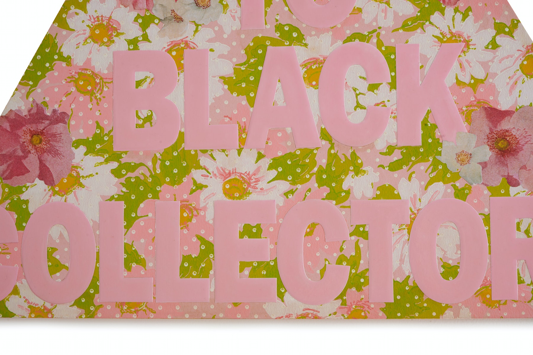 """Genevieve Gaignard """"Sell To Black Collectors (Spring),"""" 2021 Mixed media on panel 20 ¹⁄₂"""" x 24"""" x 1"""" [HxWxD] (52.07 x 60.96 x 2.54 cm) Inventory #GEN349 Courtesy of the artist and Vielmetter Los Angeles Photo credit: Thomas Clark"""