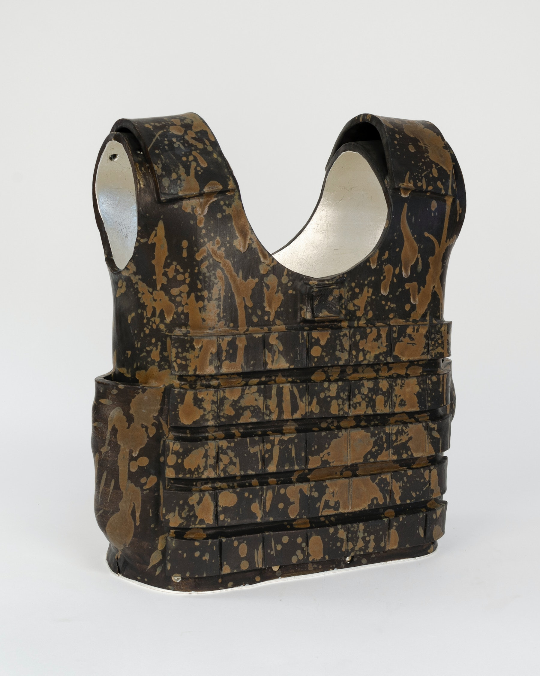 """Liz Glynn """"Decorative Protection (For What May Come),"""" 2020 Glazed ceramic with silver leaf 17 x 15.25 x 7"""" [HxWxD] (43.18 x 38.74 x 17.78 cm) Inventory #GLY175 Courtesy of the artist and Vielmetter Los Angeles"""