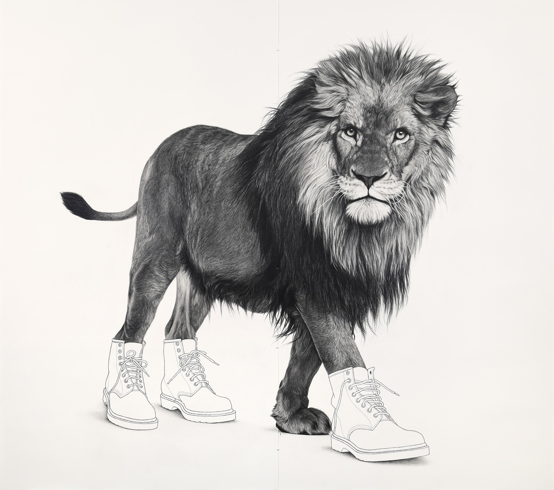 """Karl Haendel """"Lion 6,"""" 2020 Gouache, pencil and ink on paper 80 x 89.5"""" [HxW] (203.2 x 227.33 cm) Inventory #HAE578 Courtesy of the artist and Vielmetter Los Angeles"""