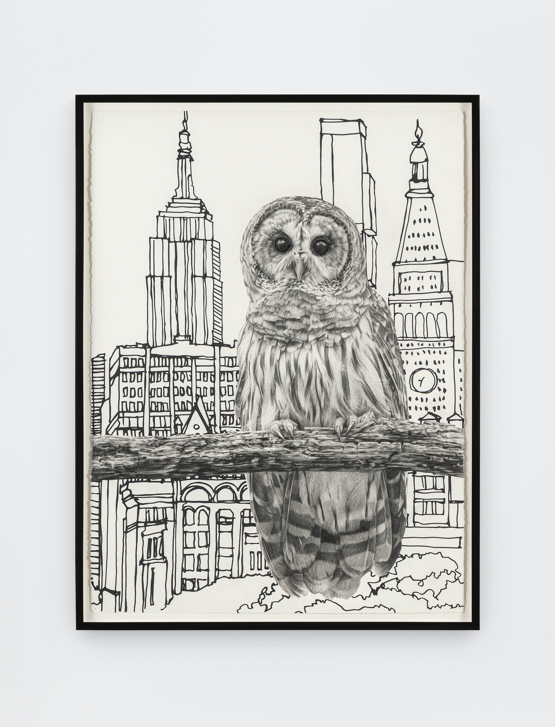 """Karl Haendel """"Owl 2,"""" 2021 Pencil and ink on paper 31 ⁵⁄₈"""" x 23 ³⁄₄"""" [HxW] (80.31 x 60.32 cm) framed; 30"""" x 22"""" [HxW] (76.2 x 55.88 cm) Inventory #HAE592 Courtesy of the artist and Vielmetter Los Angeles Photo credit: Evan Bedford"""