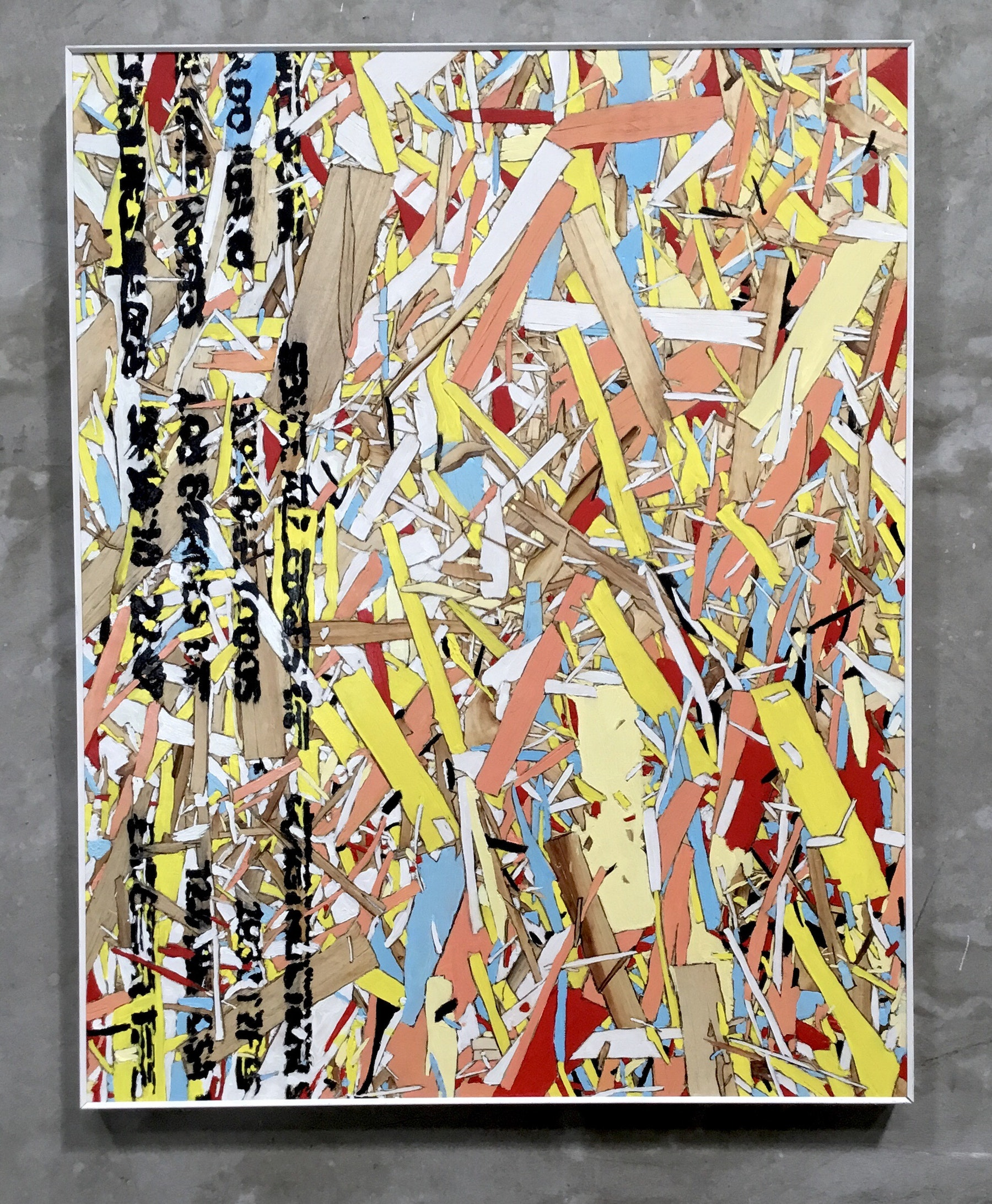 """Kim Dingle """"Home Depot Coloring Books (Anyone Can Do It),"""" 2019 Oil on OSB 24 x 19"""" [HxW] (60.96 x 48.26 cm) Inventory #DIN283 Courtesy of the artist and Vielmetter Los Angeles Photo credit: Jeff McLane"""